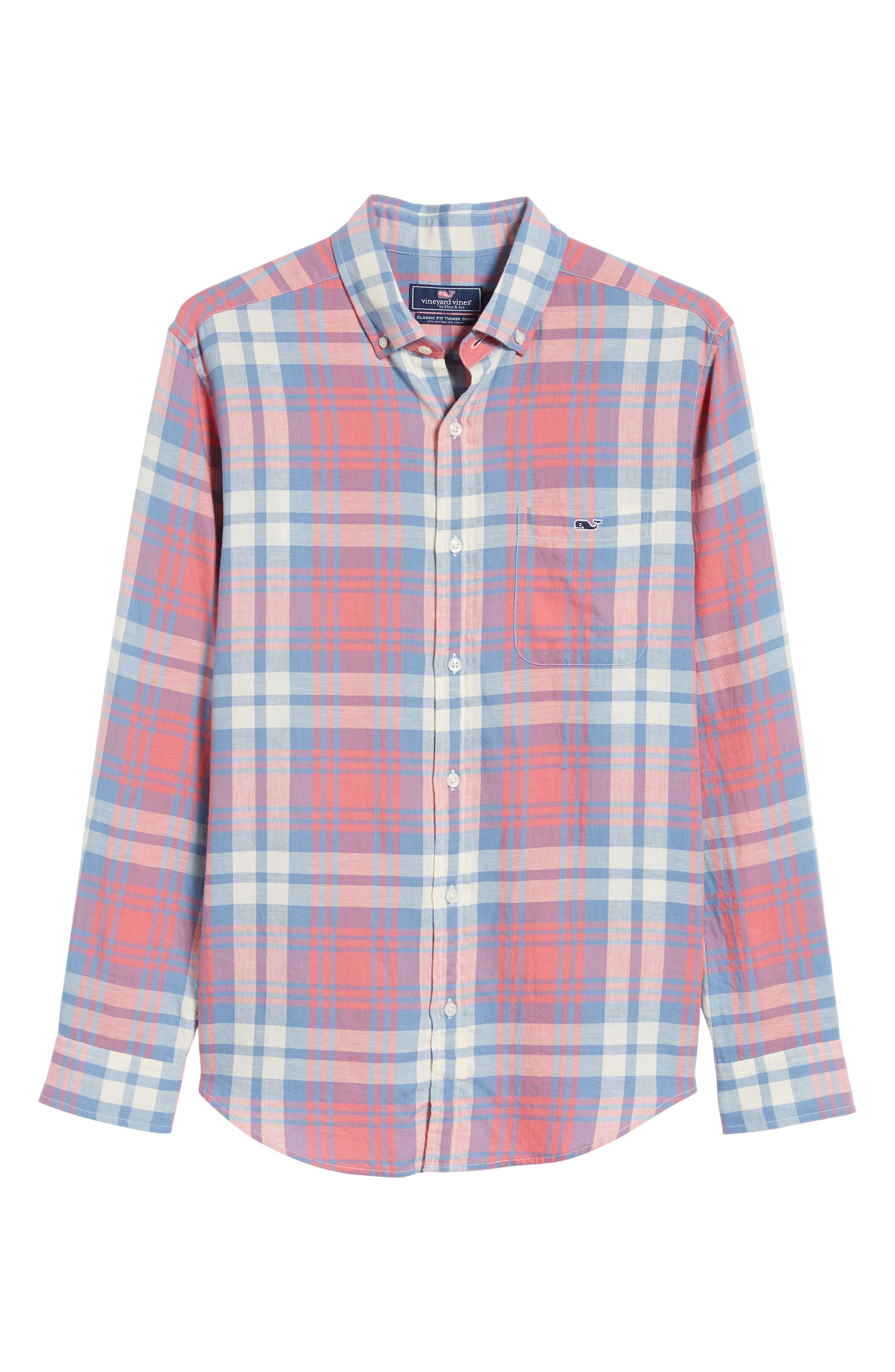VINEYARD VINES, Kings Point Slim Fit Tucker Sport Shirt, Alternate thumbnail 5, color, LOBSTER REEF
