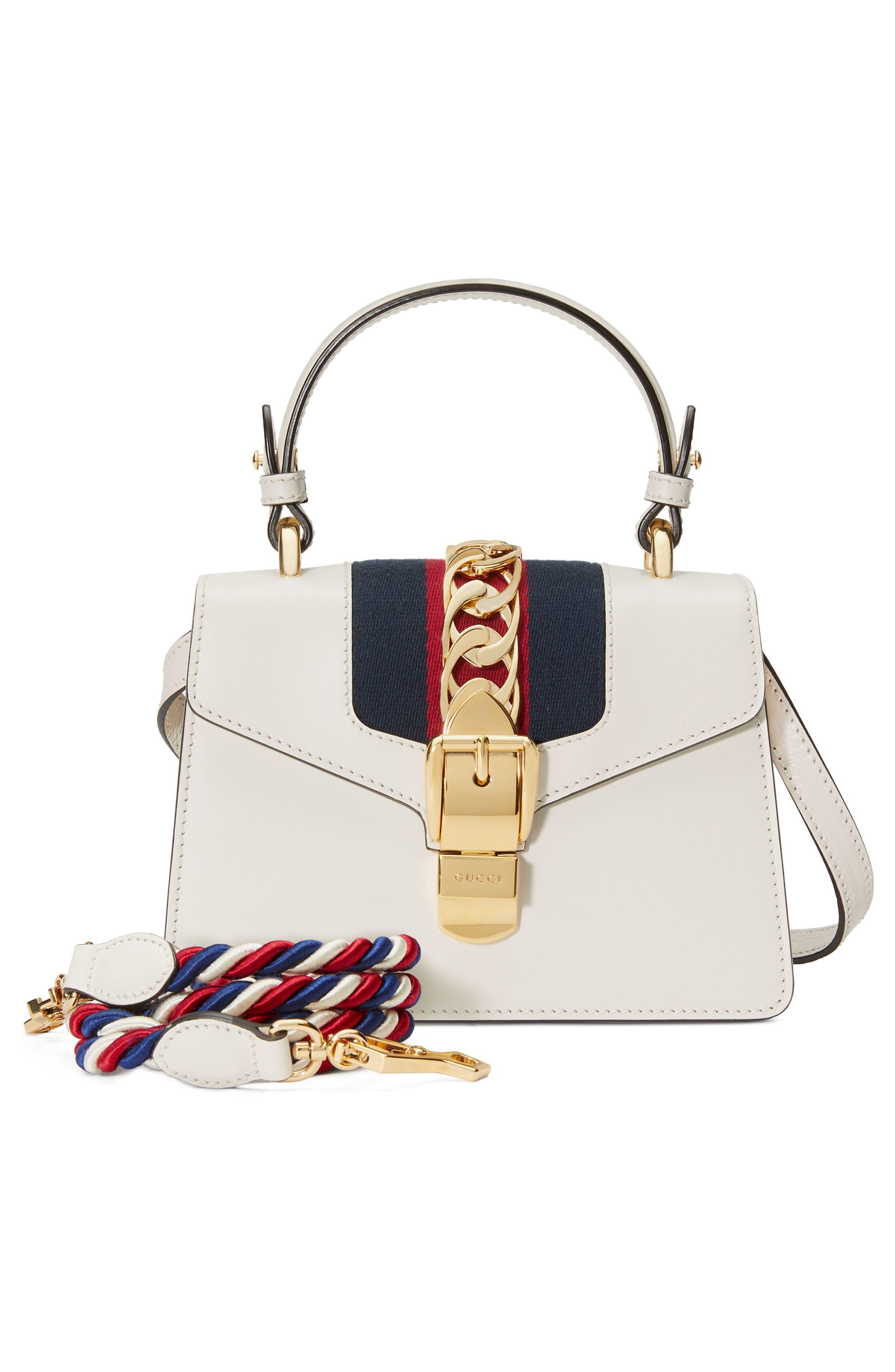 GUCCI, Mini Sylvie Top Handle Leather Shoulder Bag, Alternate thumbnail 5, color, MYSTIC WHITE