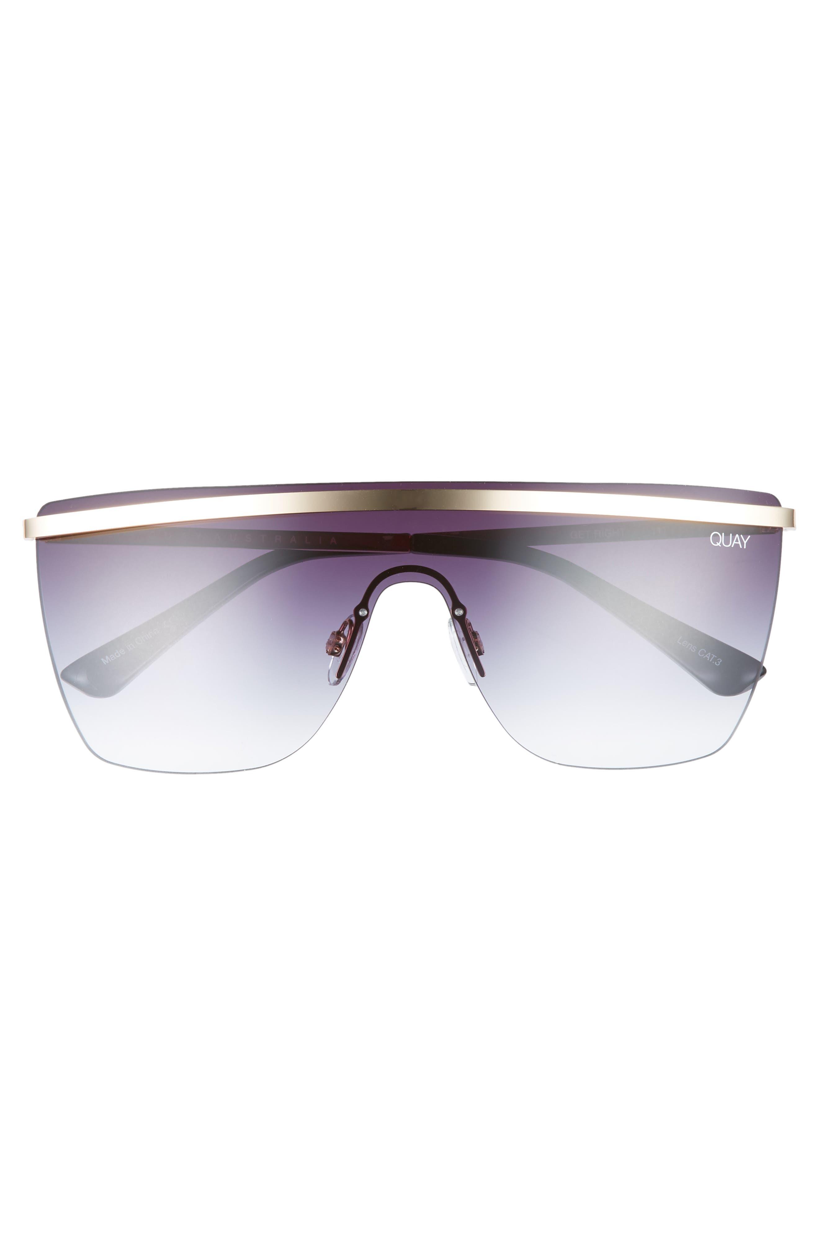 QUAY AUSTRALIA, x JLO Get Right 54mm Flat Top Shield Sunglasses, Alternate thumbnail 3, color, GOLD/ BLACK FADE