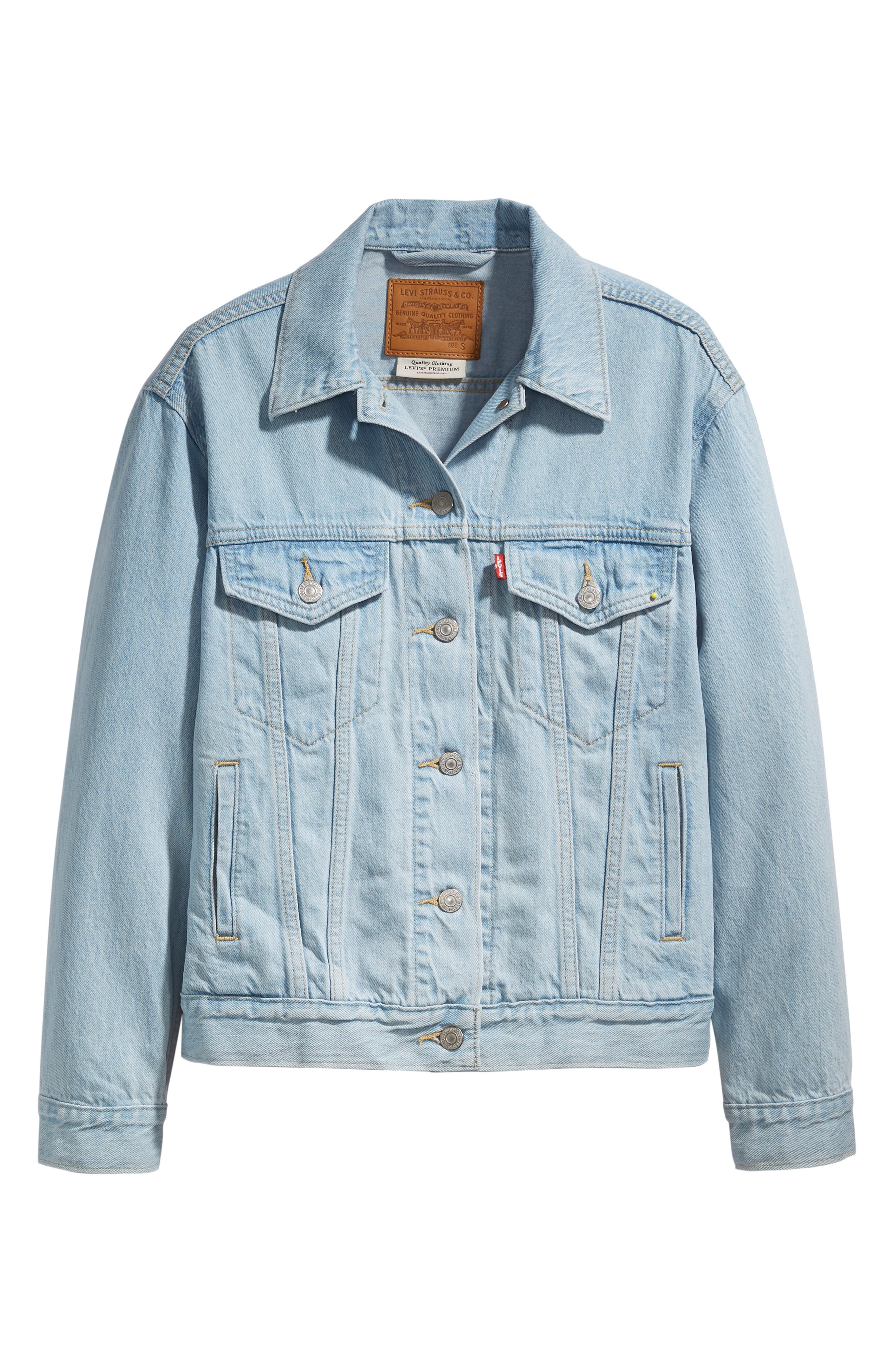 LEVI'S<SUP>®</SUP>, Ex-Boyfriend Denim Trucker Jacket, Alternate thumbnail 3, color, 420