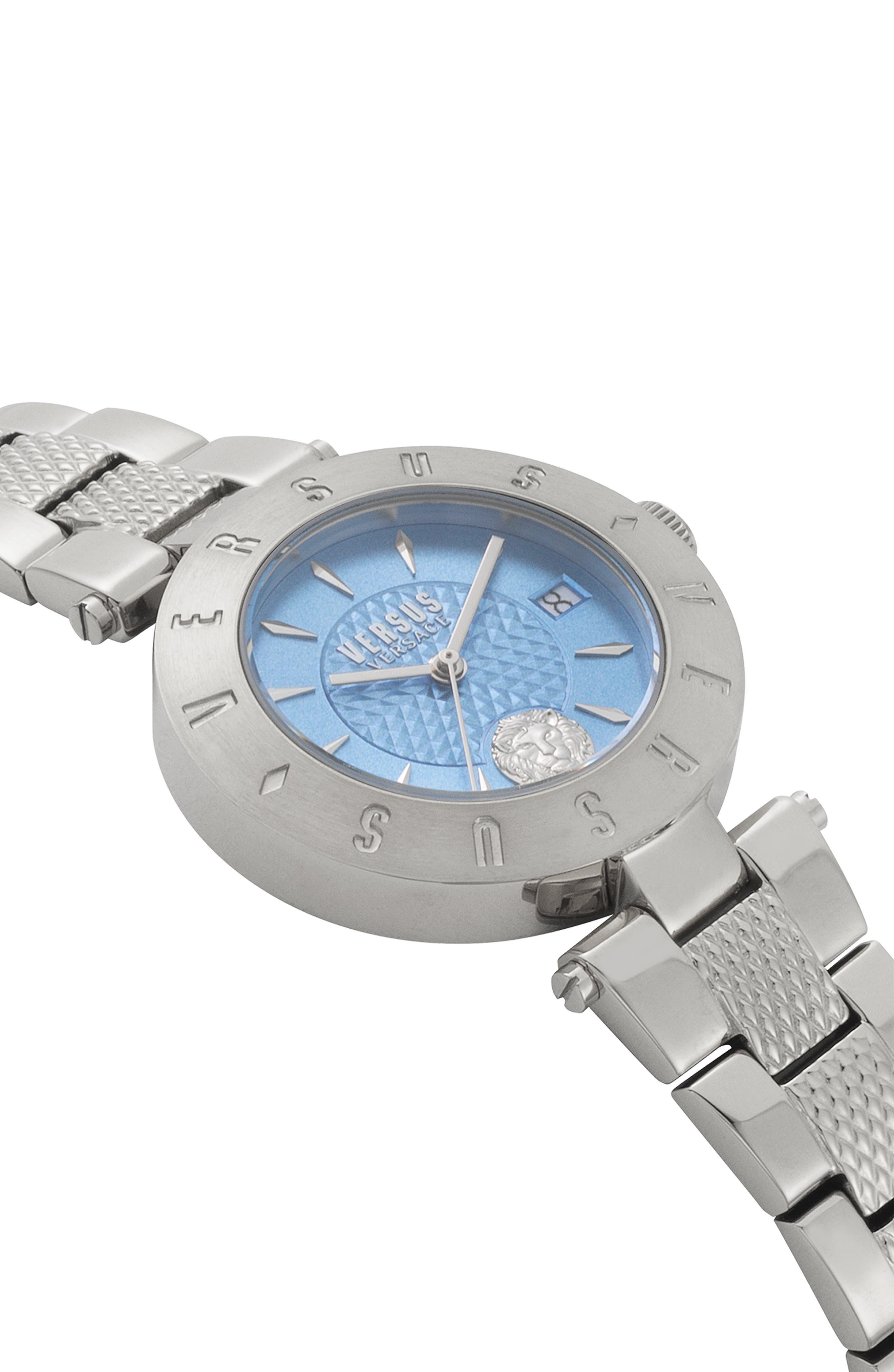 VERSUS VERSACE, Logo Bracelet Watch, 34mm, Alternate thumbnail 3, color, SILVER/ BLUE