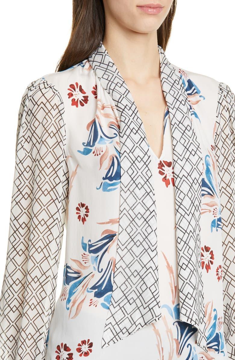 bf982bdbc1a77 Joie Kanela Mixed Print Tie Neck Silk Blouse