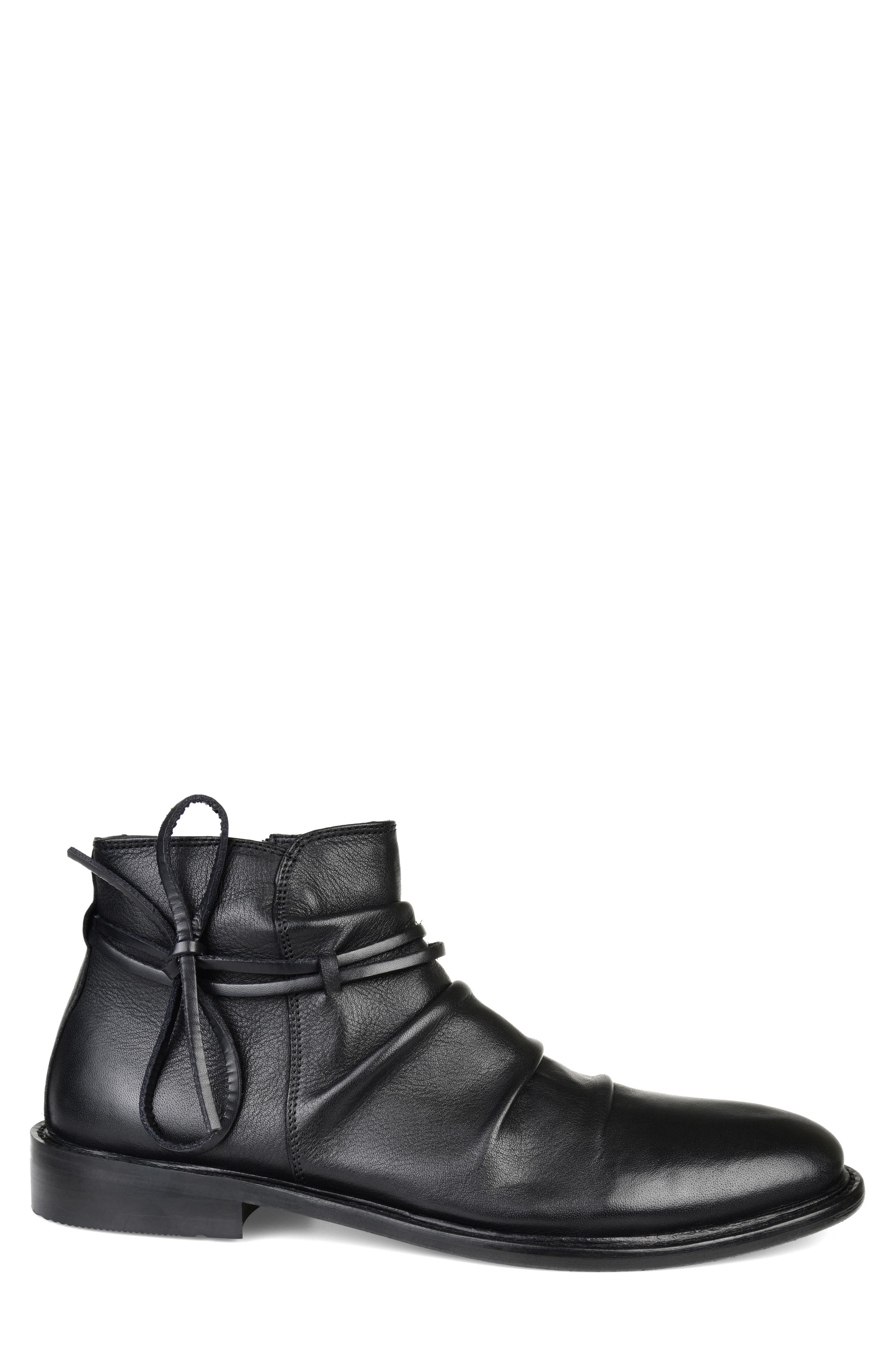 THOMAS AND VINE, Gideon Mid Rippled Boot, Alternate thumbnail 3, color, BLACK LEATHER