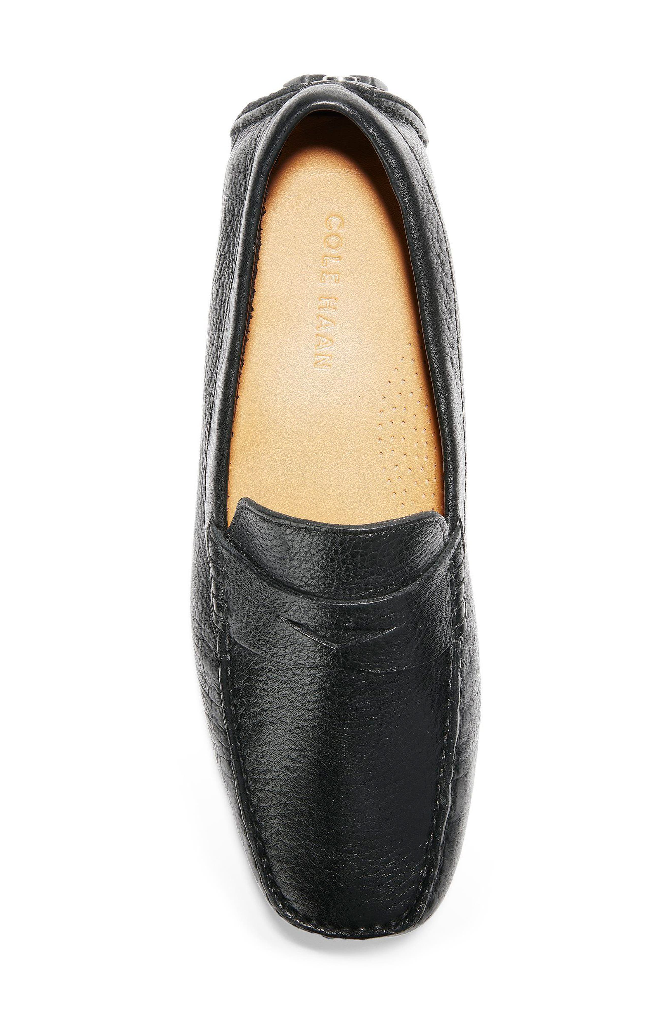 COLE HAAN, 'Howland' Penny Loafer, Alternate thumbnail 5, color, BLACK TUMBLED