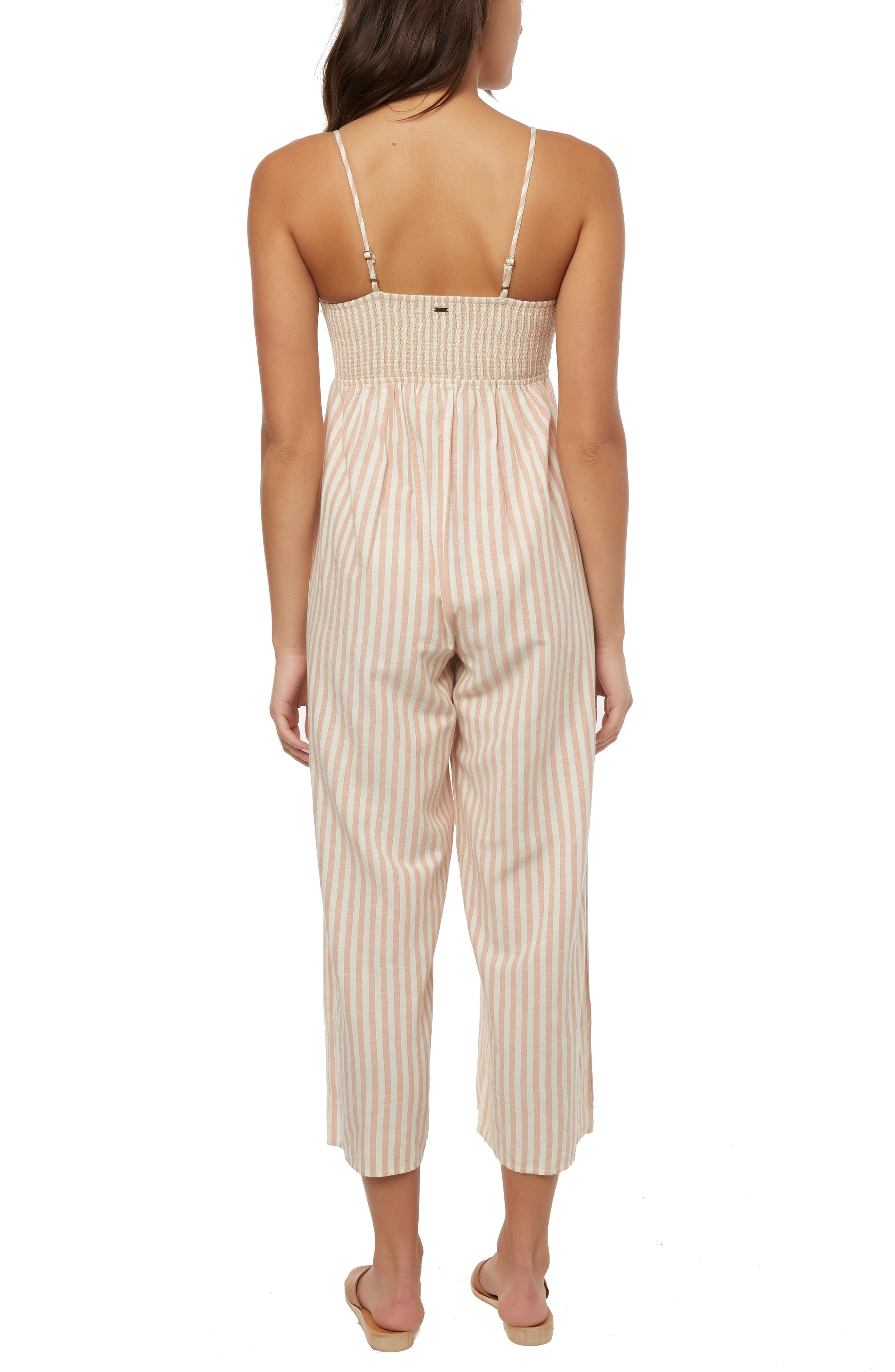O'NEILL, Anabella Stripe Ruched Jumpsuit, Alternate thumbnail 2, color, NAKED