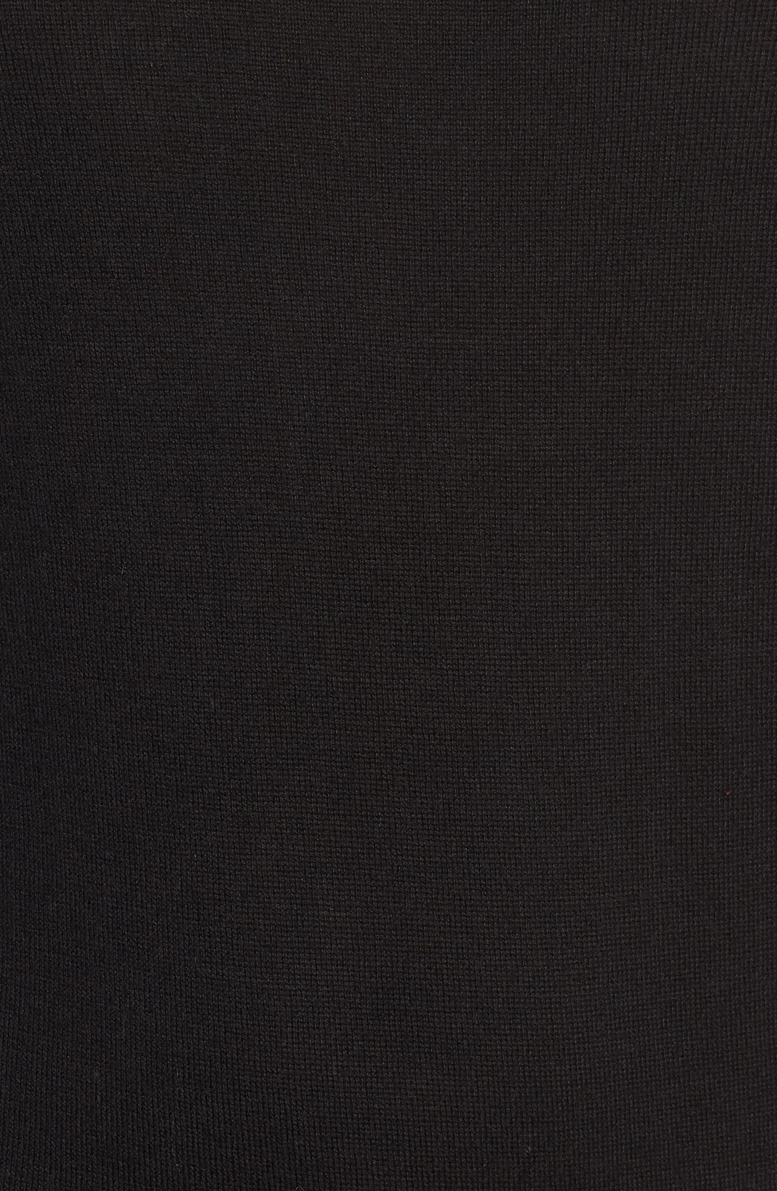 1901, Back Button Crewneck Sweater, Alternate thumbnail 5, color, BLACK