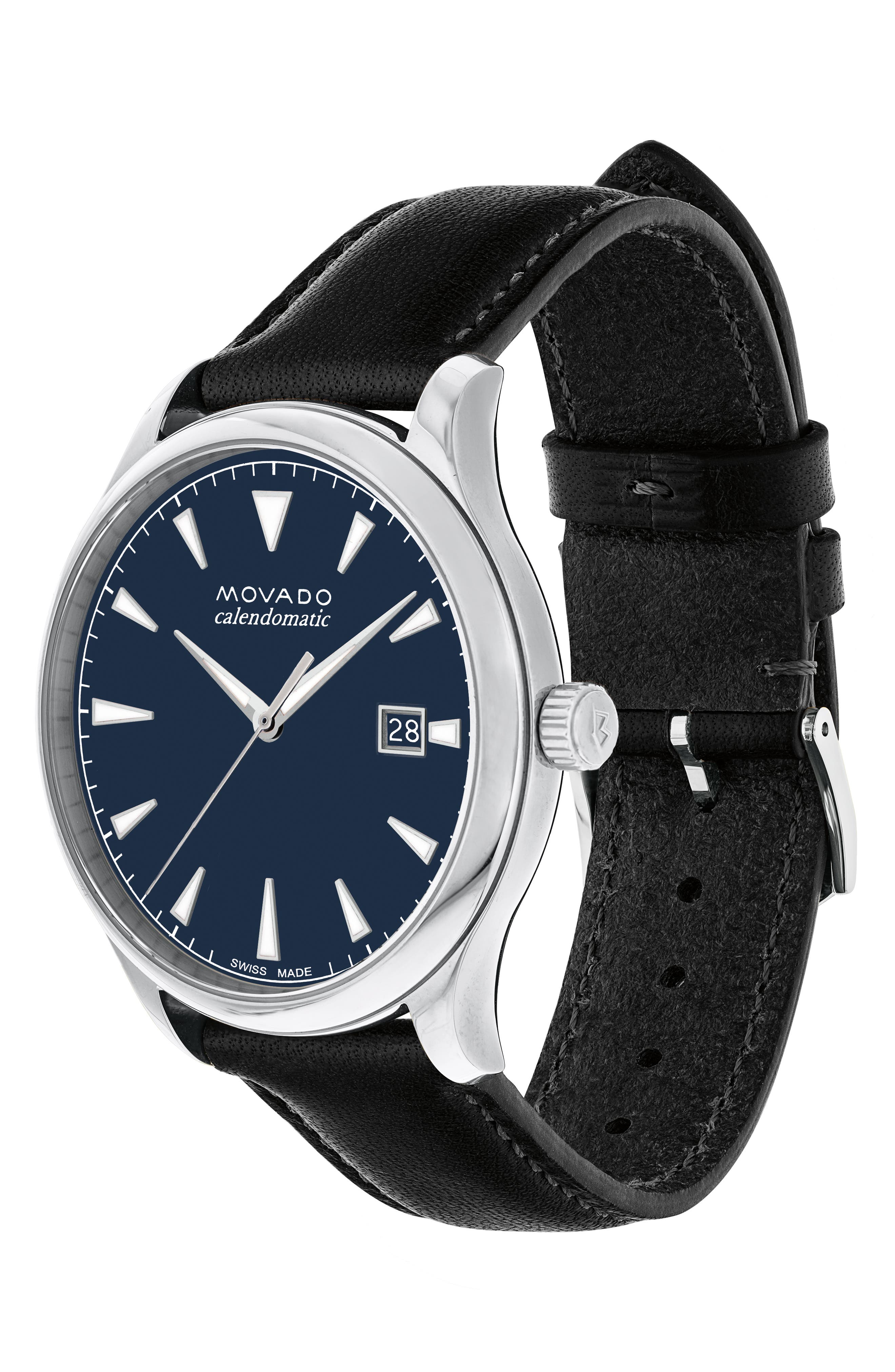 MOVADO, Heritage Leather Strap Watch, 40mm, Alternate thumbnail 3, color, BLACK/ NAVY/ SILVER