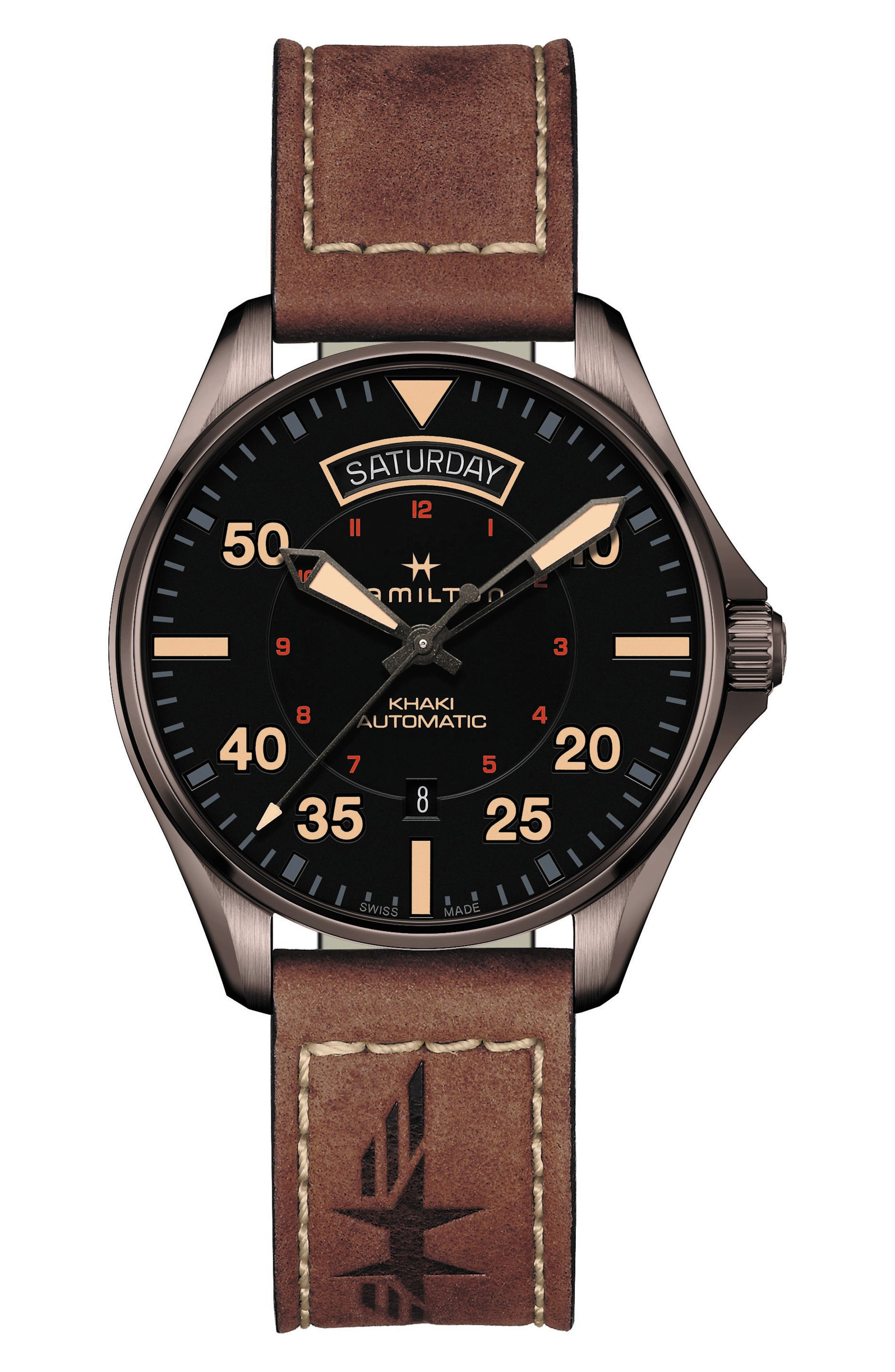 HAMILTON Khaki Aviation Automatic Leather Strap Watch, 42mm, Main, color, BROWN/ BLACK