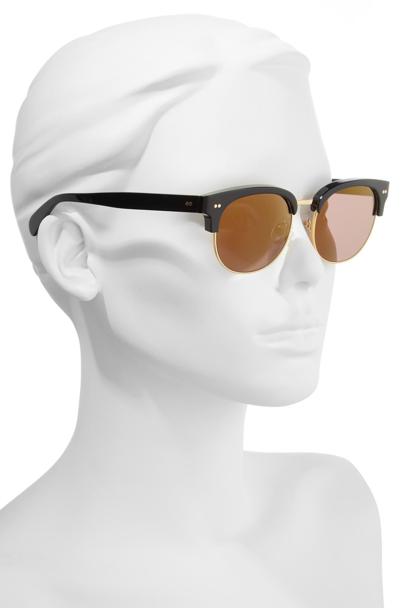 WILDFOX, Clubhouse 50mm Semi-Rimless Sunglasses, Alternate thumbnail 2, color, BLACK/ GOLD