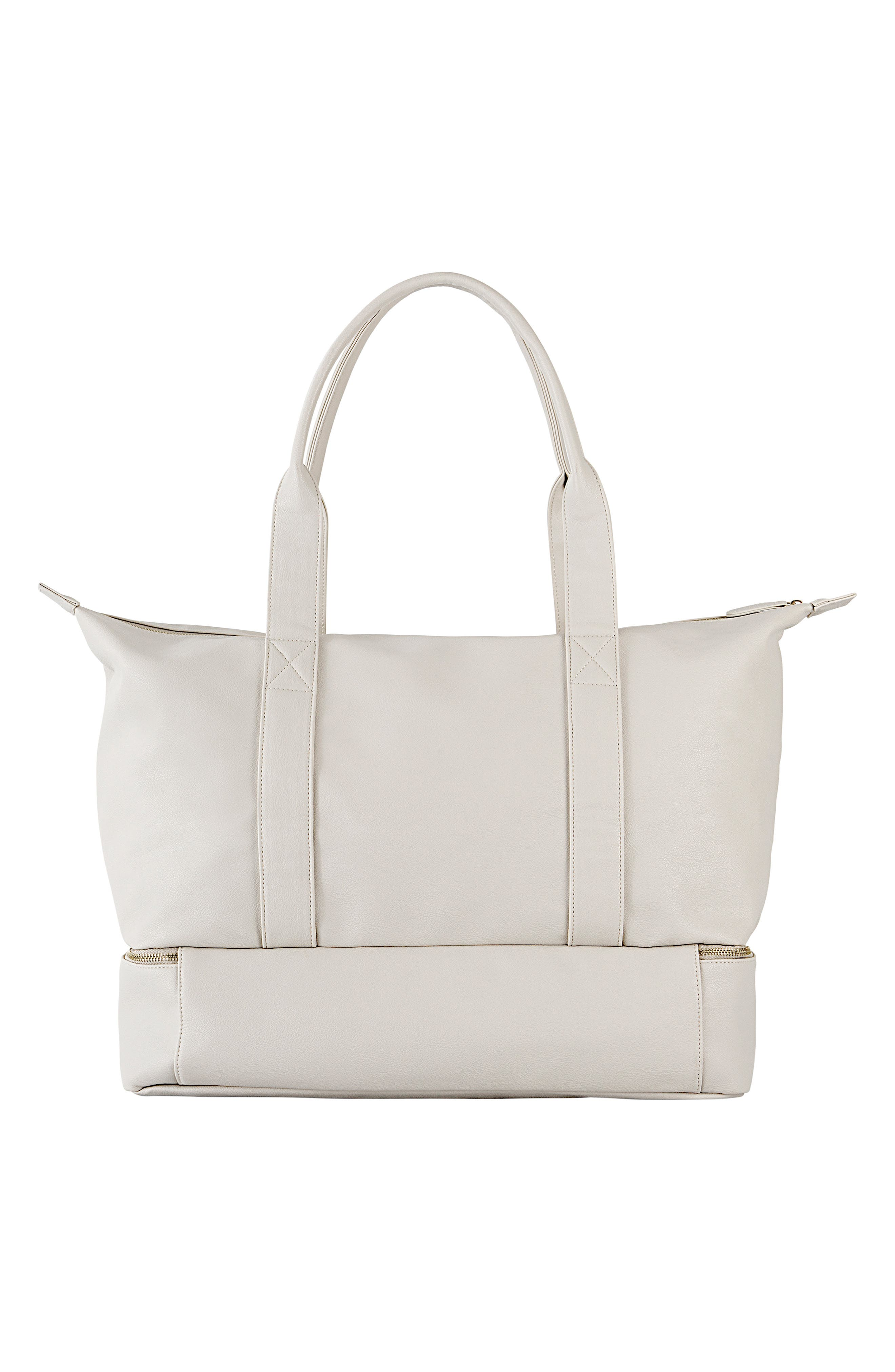 CATHY'S CONCEPTS, Monogram Faux Leather Tote with Shoe Base, Alternate thumbnail 2, color, GRAY