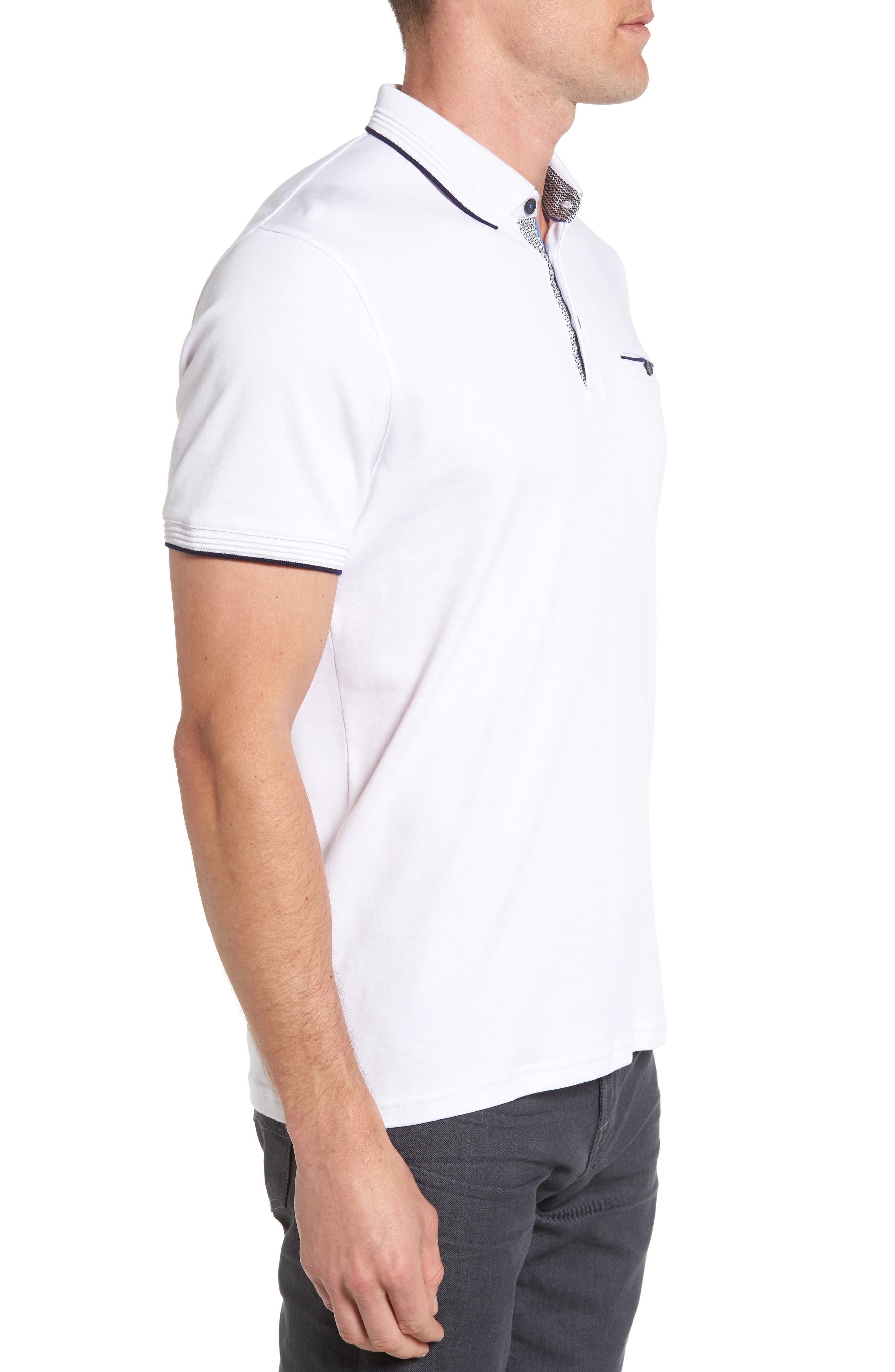 TED BAKER LONDON, Derry Modern Slim Fit Polo, Alternate thumbnail 3, color, WHITE