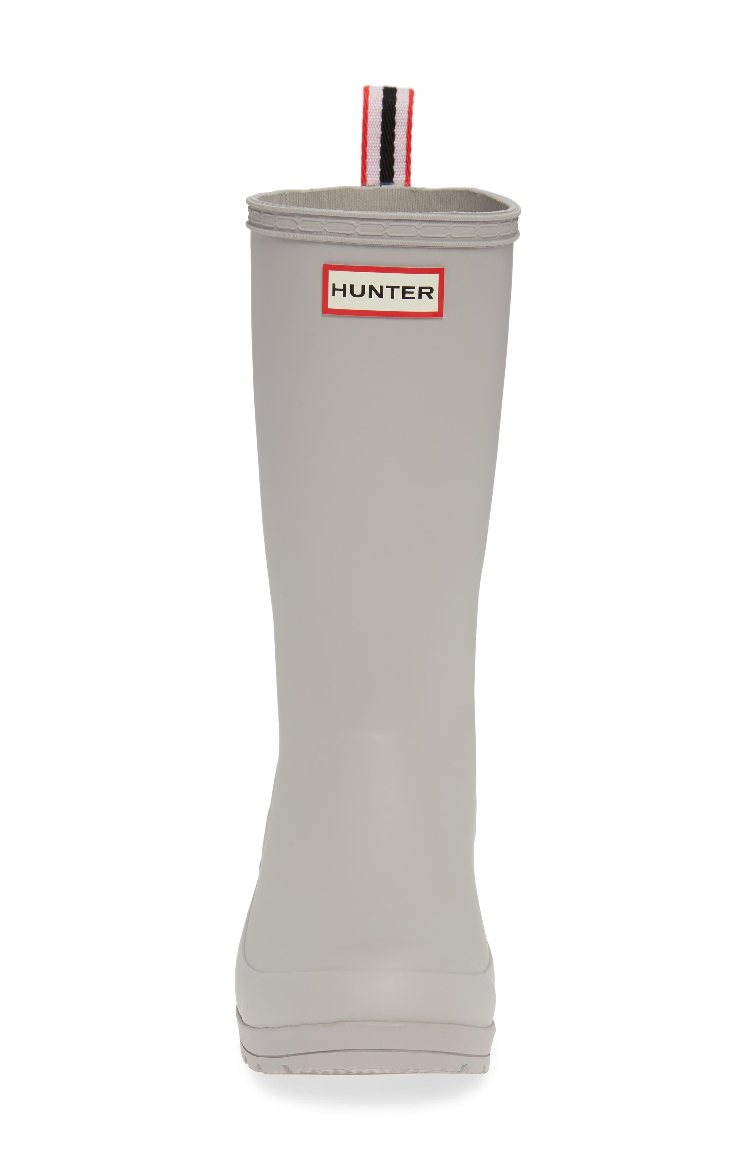 HUNTER, Original Play Tall Waterproof Rain Boot, Alternate thumbnail 4, color, ZINC
