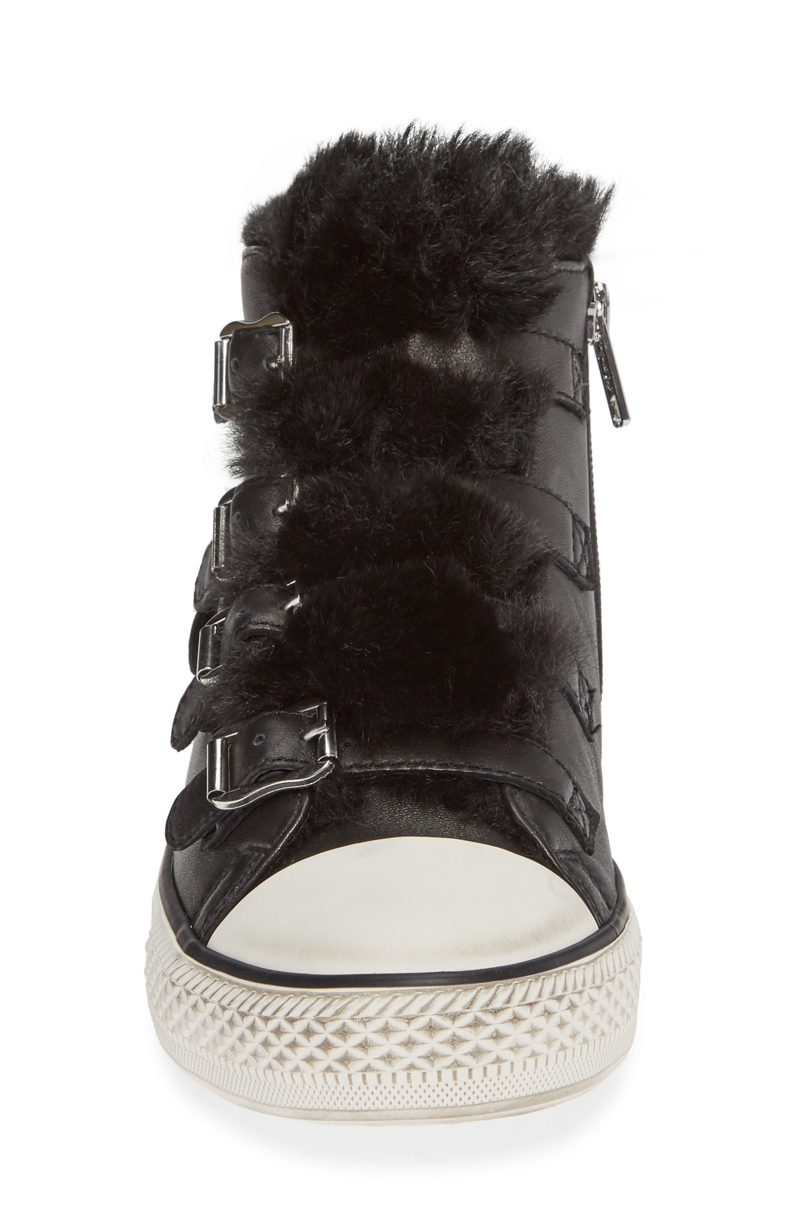 ASH, Valko High Top Sneaker, Alternate thumbnail 4, color, BLACK/ BLACK FAUX FUR