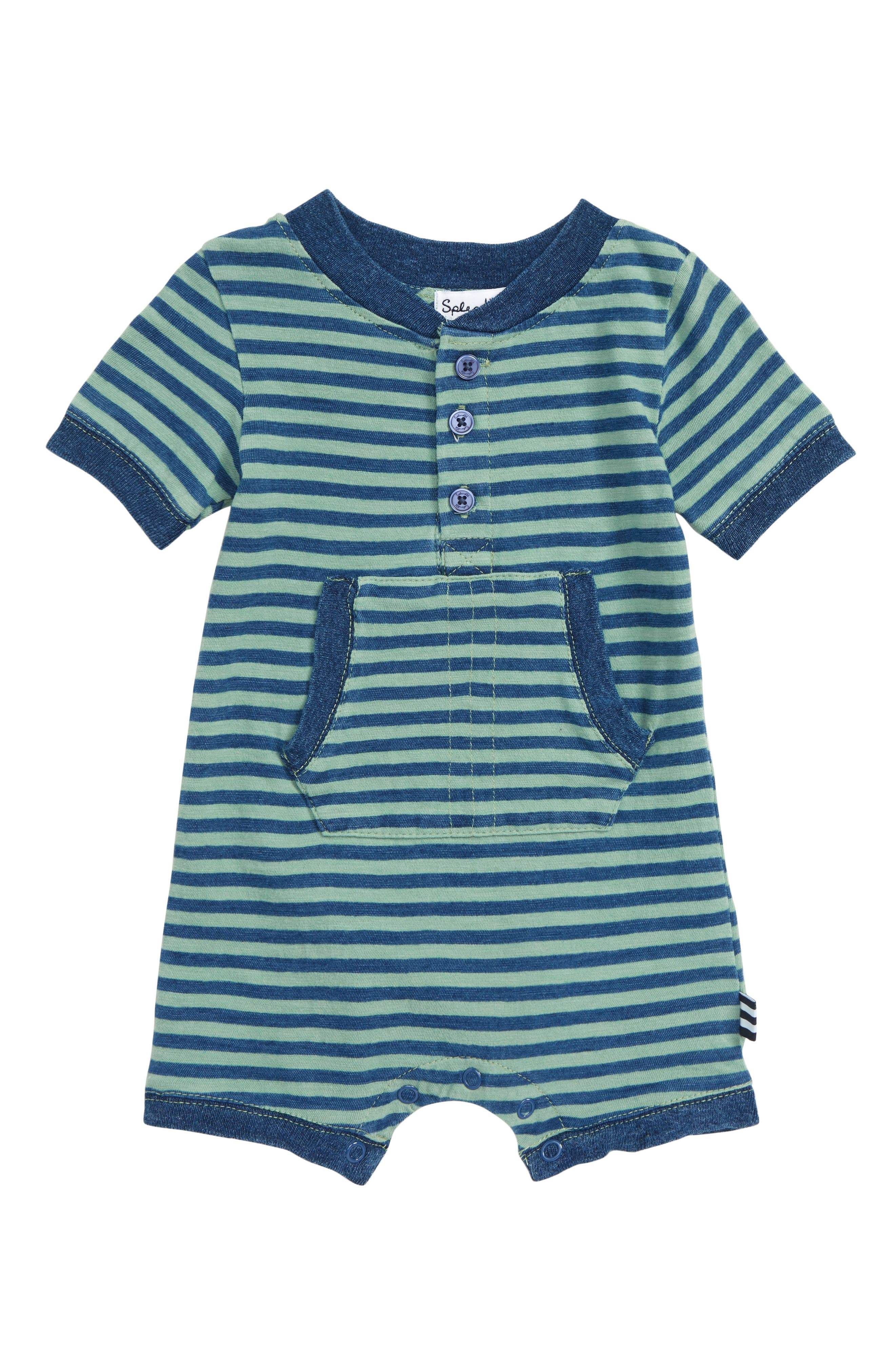 SPLENDID, Indigo Stripe Bodysuit, Main thumbnail 1, color, WAKE GREEN