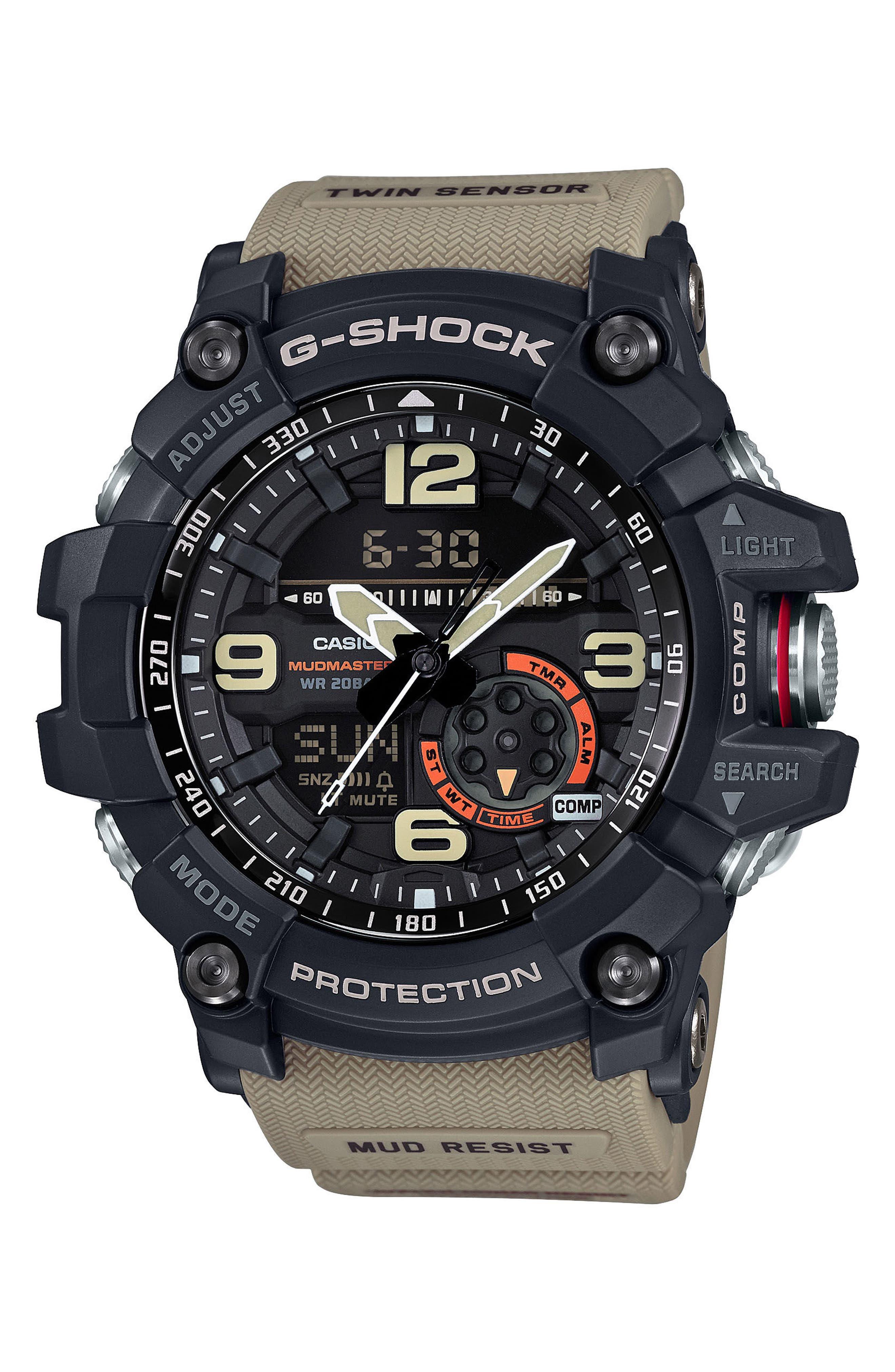 G-SHOCK BABY-G, G-Shock AD Mudmaster Strap Watch, 56mm, Main thumbnail 1, color, TAN/ BLACK