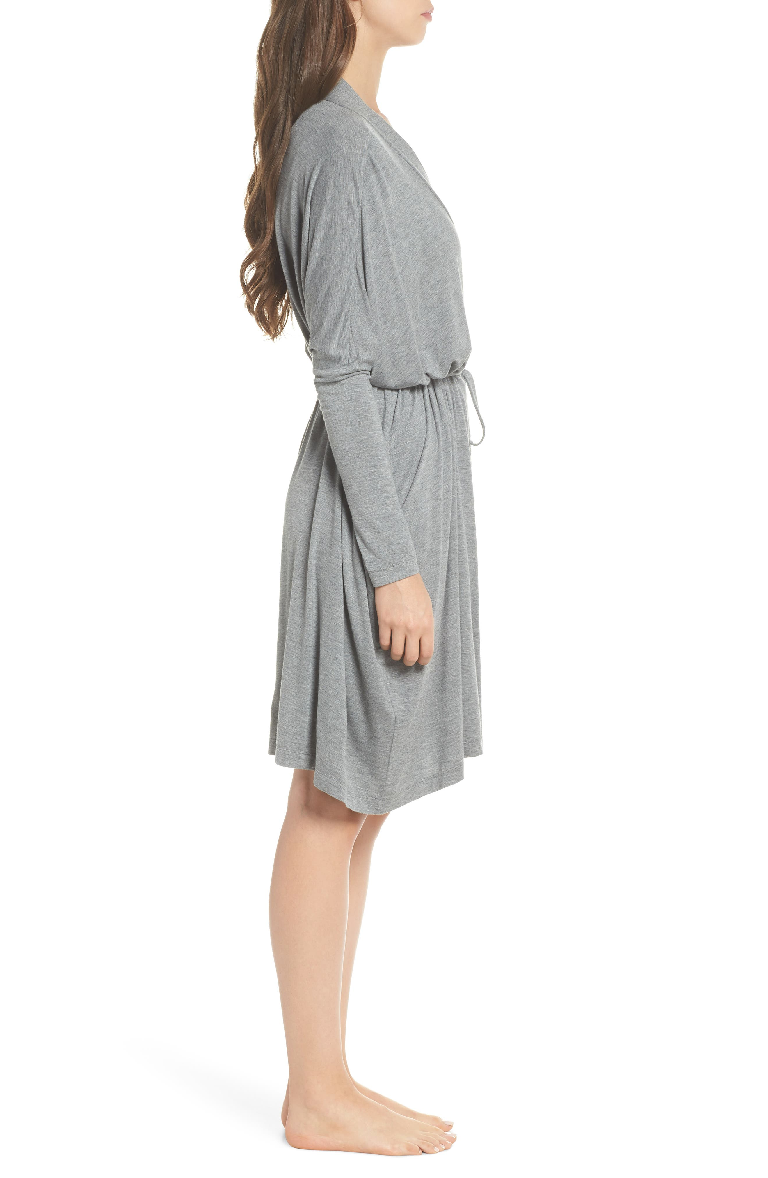 UGG<SUP>®</SUP>, Delanie Robe, Alternate thumbnail 3, color, GREY HEATHER