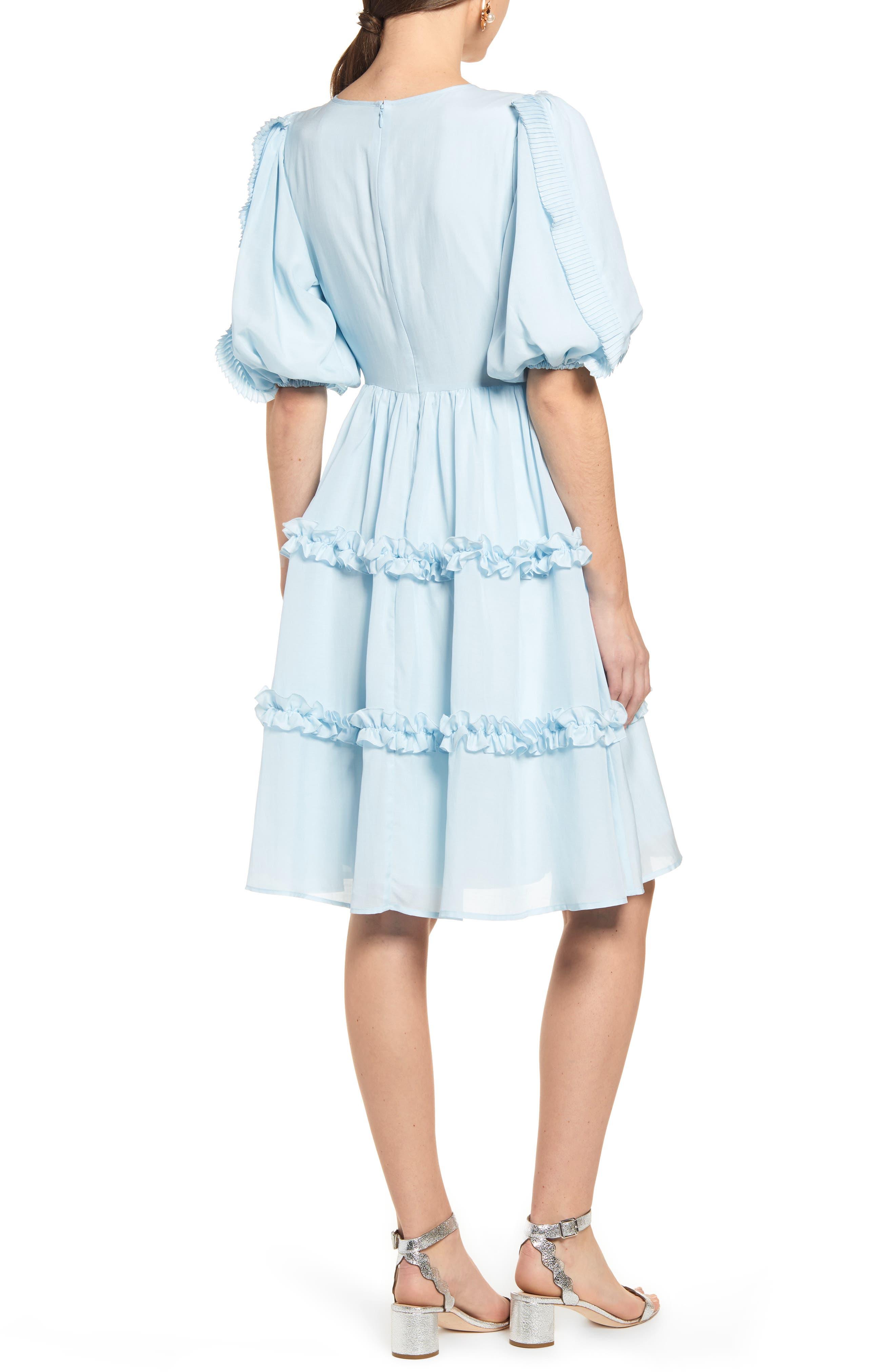RACHEL PARCELL, Ruffle Sleeve Dress, Alternate thumbnail 2, color, BLUE WINTER