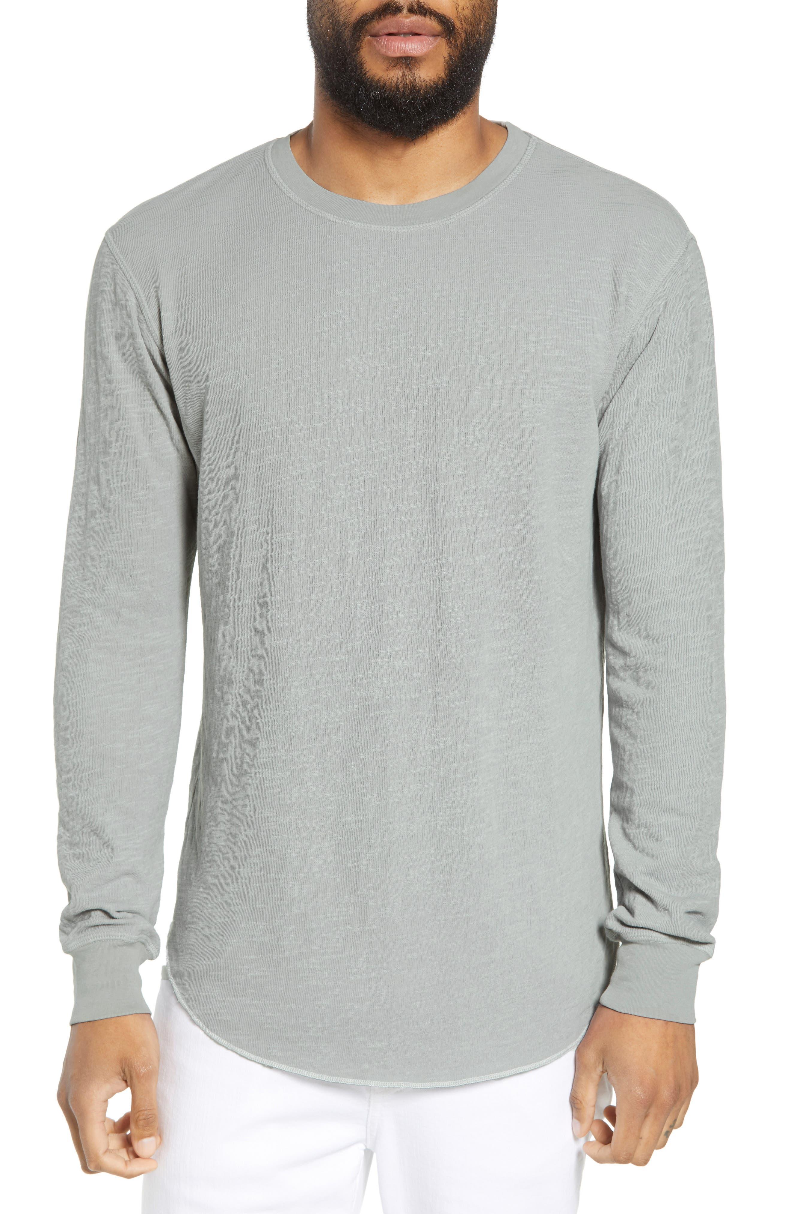 GOODLIFE, Double Layer Slim Crewneck T-Shirt, Main thumbnail 1, color, QUARRY