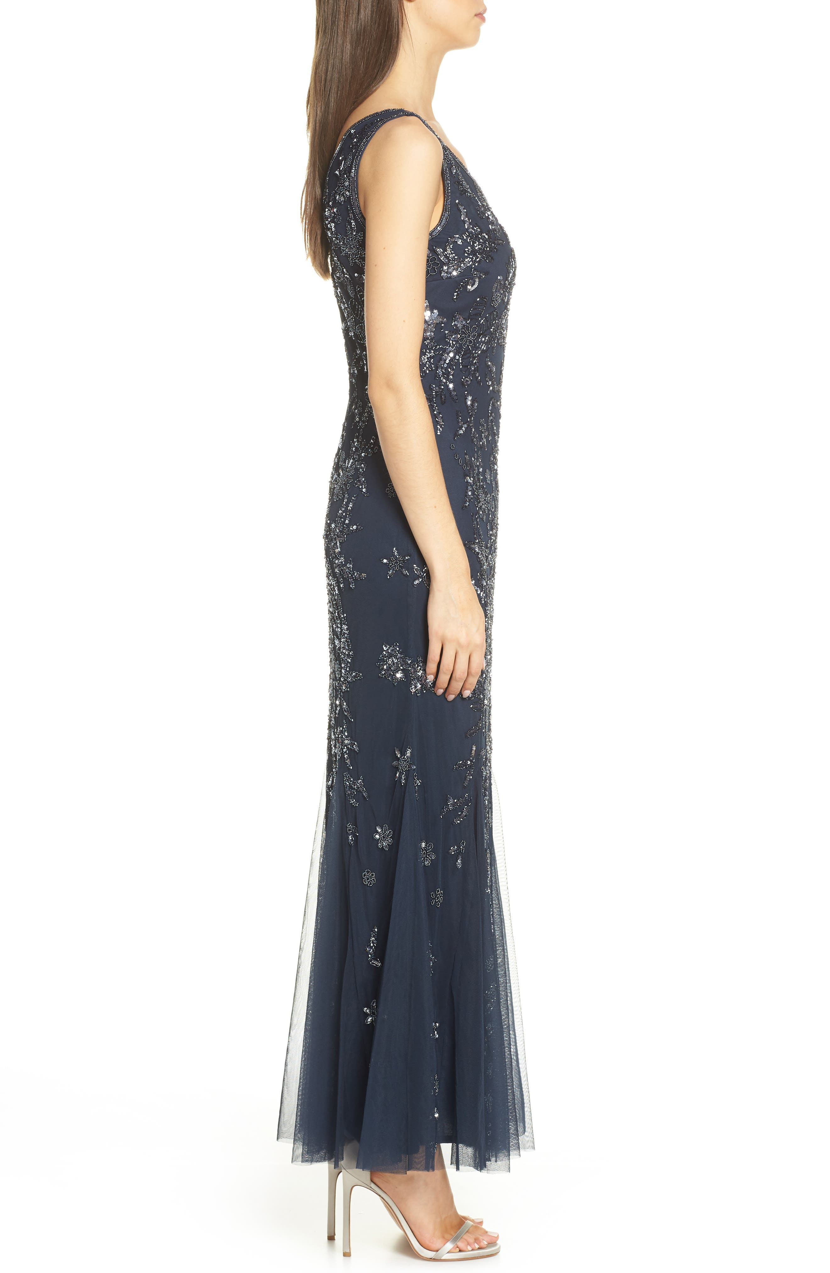PISARRO NIGHTS, Embellished Mesh Gown, Alternate thumbnail 4, color, NAVY