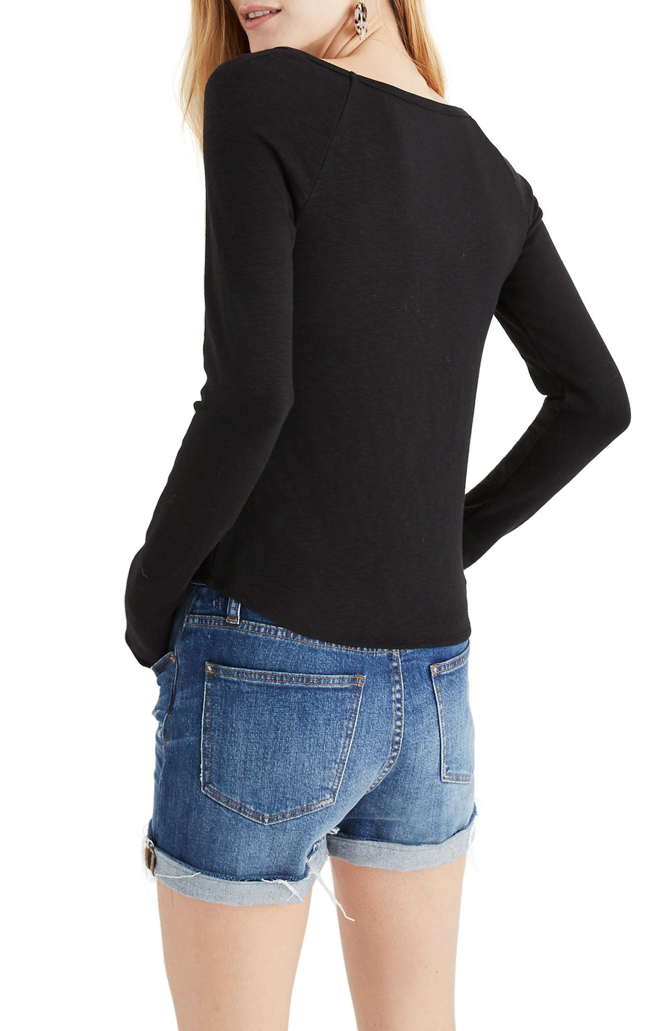 MADEWELL, Square Neck Long Sleeve Tee, Alternate thumbnail 3, color, TRUE BLACK