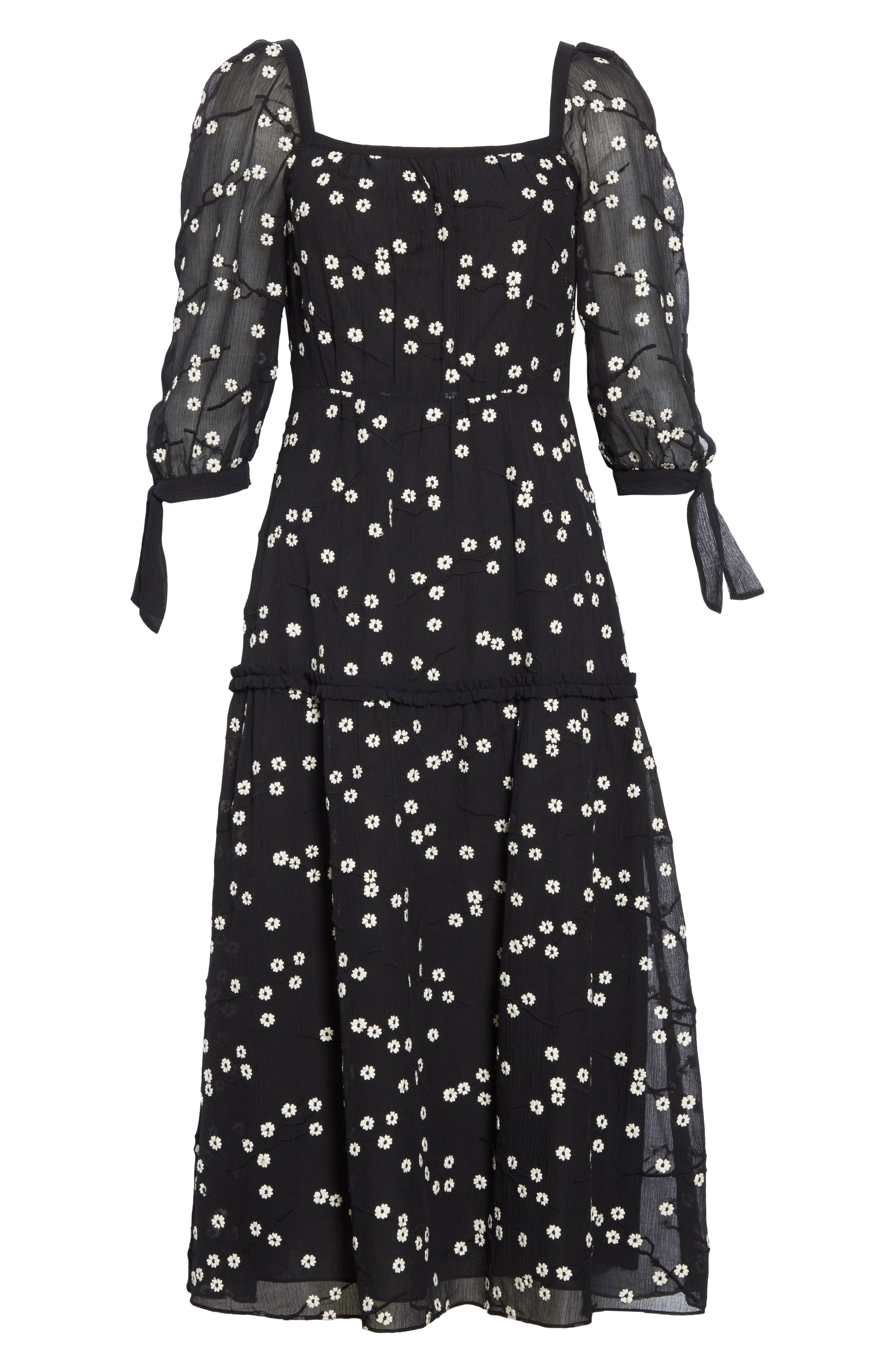 REBECCA TAYLOR, Allessandra Midi Dress, Alternate thumbnail 7, color, BLACK COMBO
