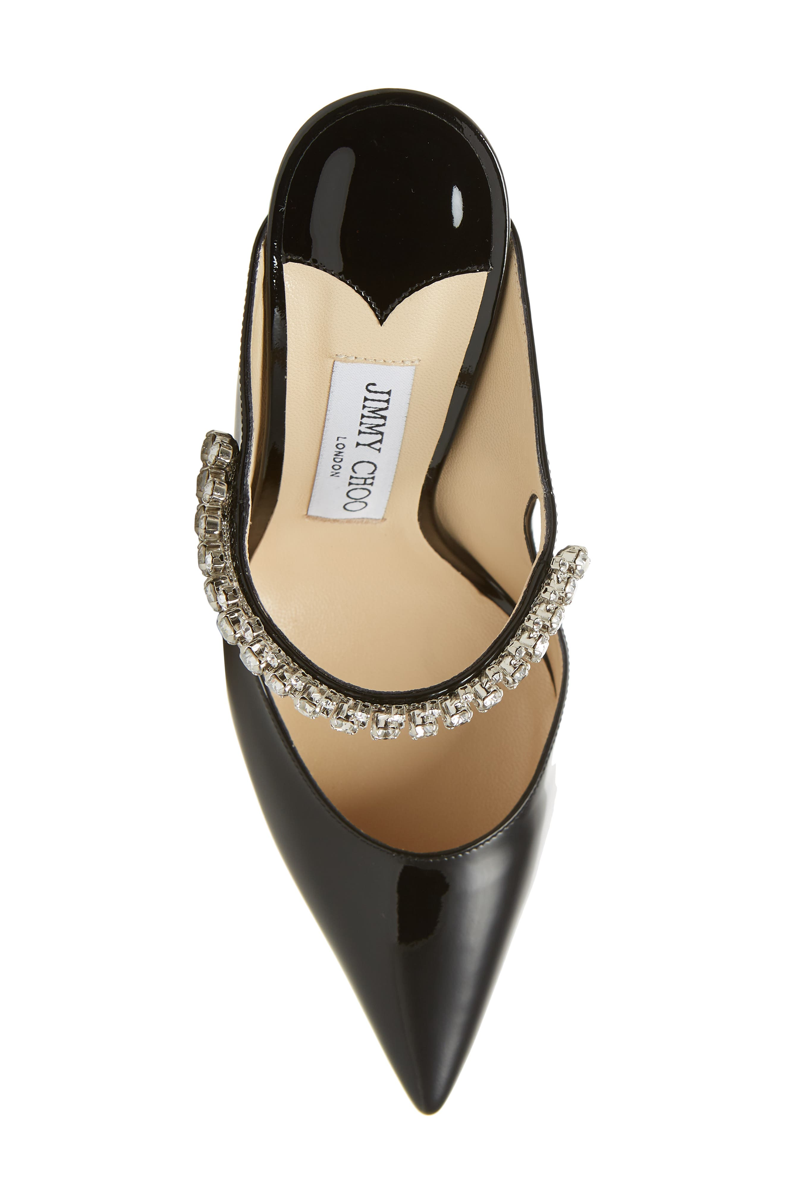 JIMMY CHOO, Embellished Mule, Alternate thumbnail 5, color, BLACK