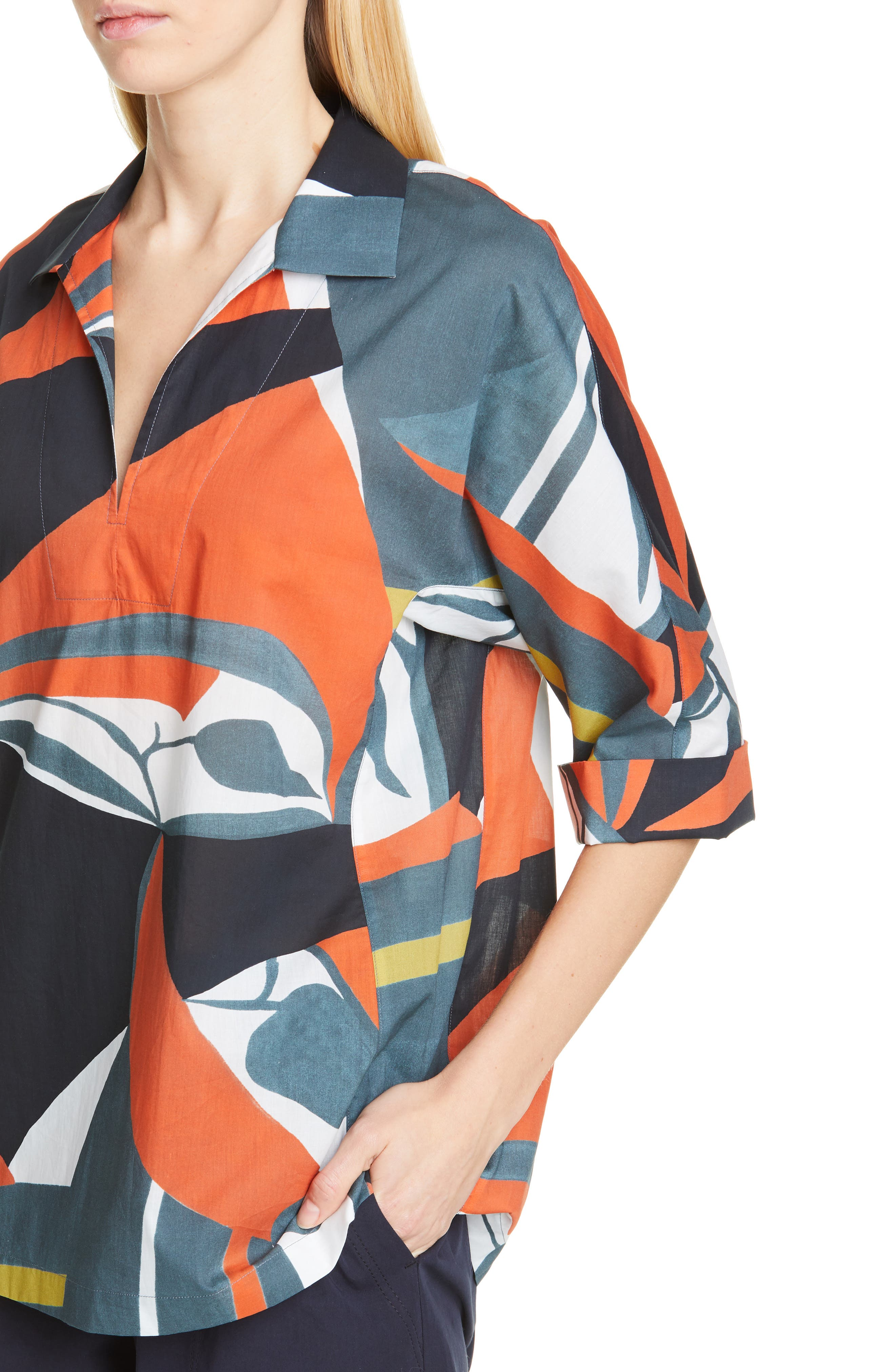 LAFAYETTE 148 NEW YORK, Nicole Artisan Abstract Print Top, Alternate thumbnail 5, color, ATLANTIS TEAL MULTI