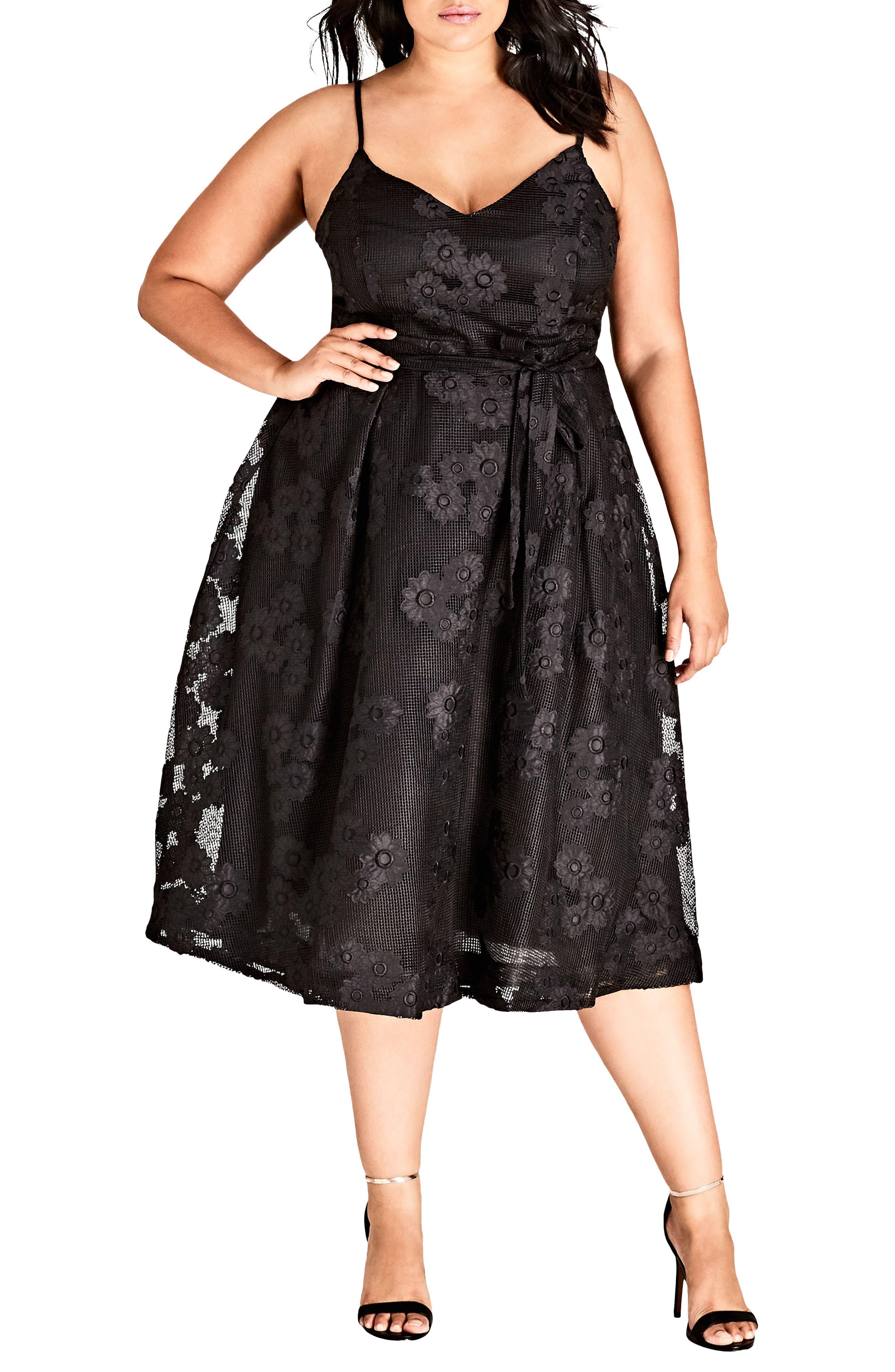 Plus Size City Chic Love Fling Dress, Black