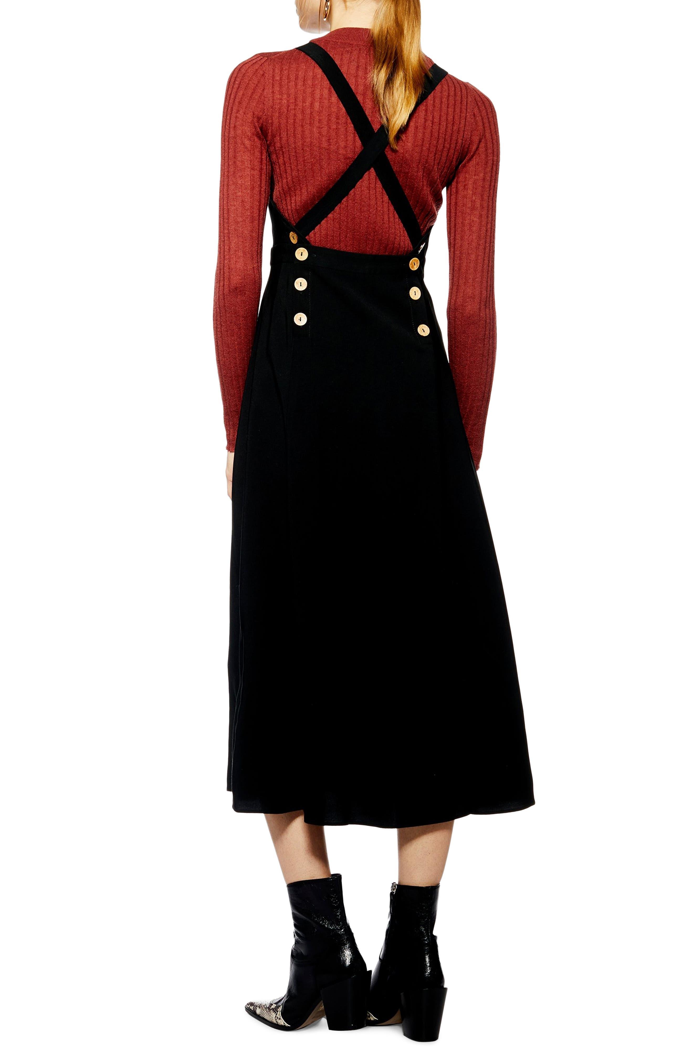 TOPSHOP, Tilda Pinafore Midi Dress, Alternate thumbnail 2, color, BLACK
