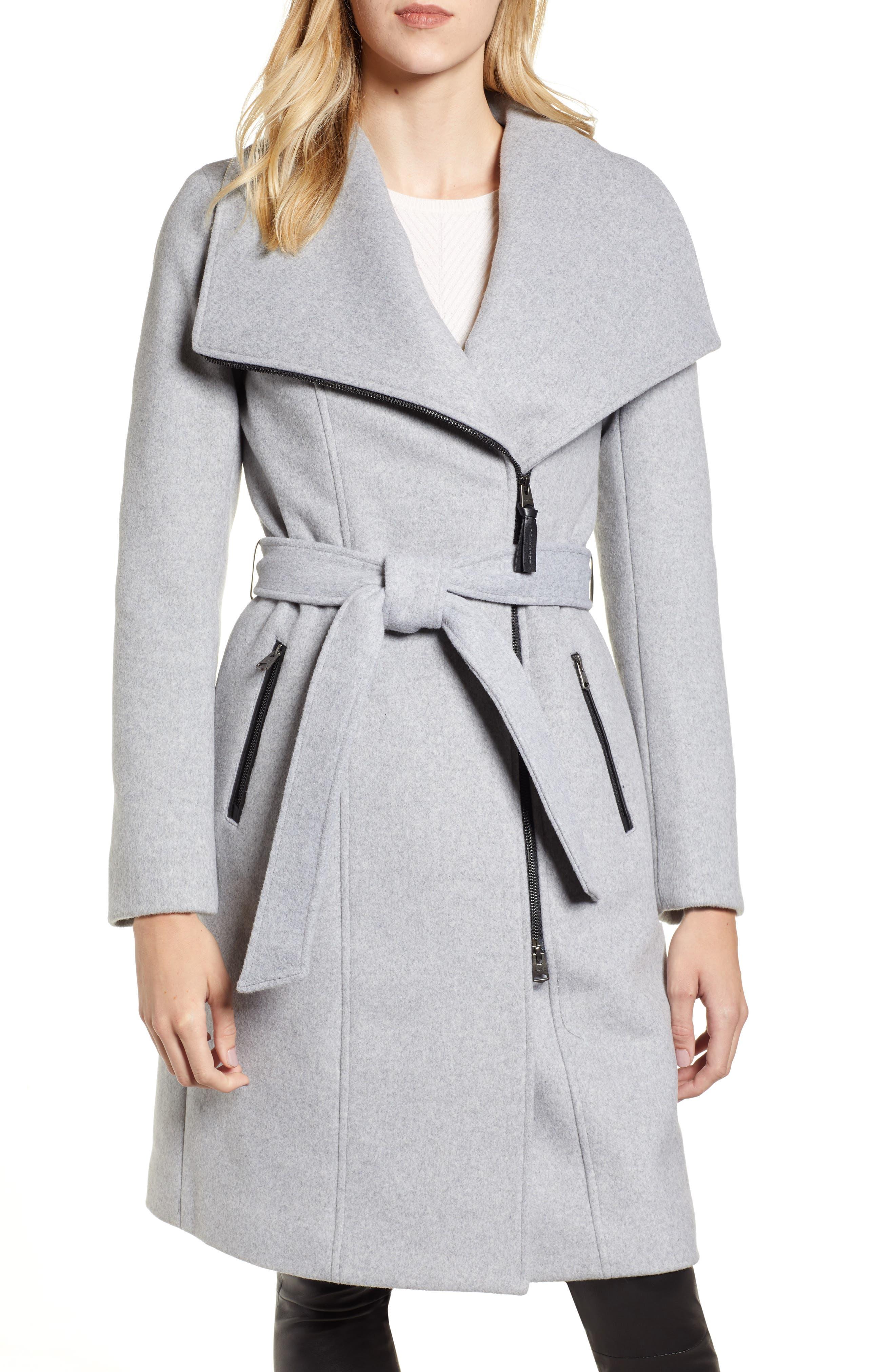 MACKAGE, Nori Belted Wool Blend Coat, Alternate thumbnail 5, color, LIGHT GREY