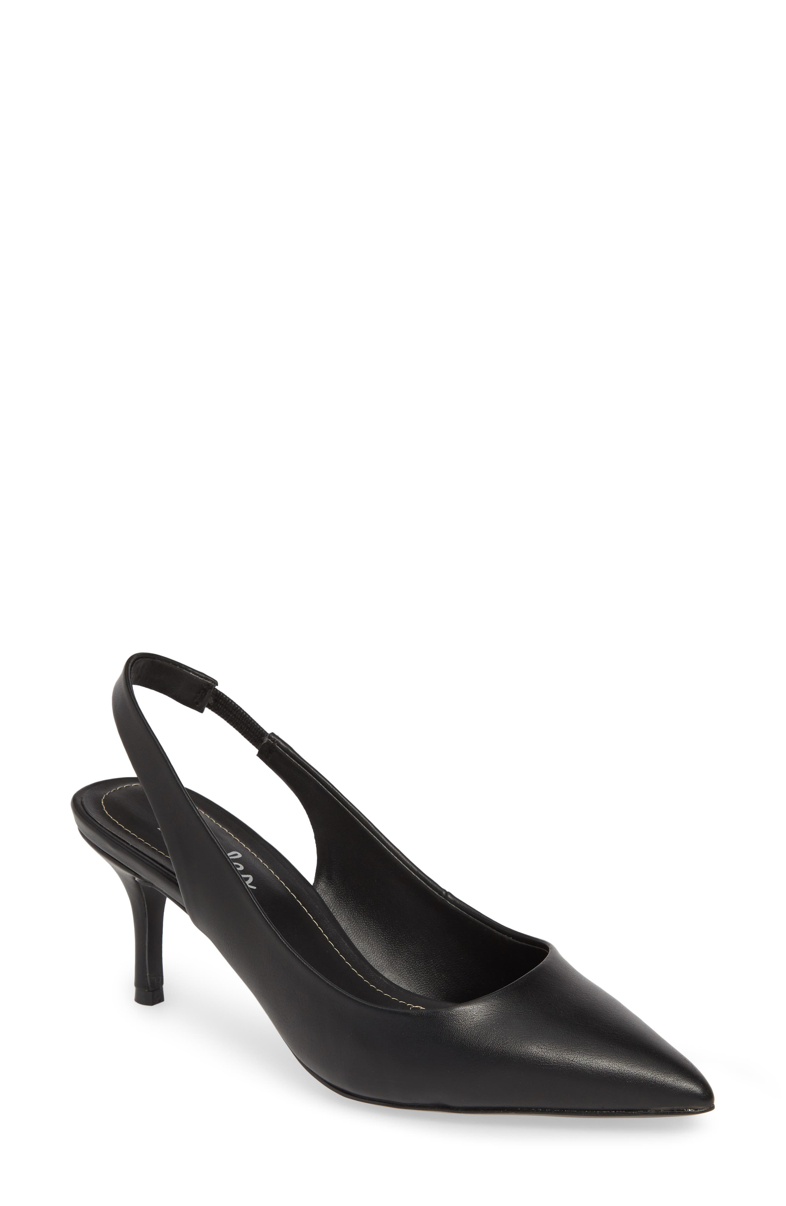 CHARLES BY CHARLES DAVID, Amy Slingback Pump, Main thumbnail 1, color, BLACK FAUX LEATHER
