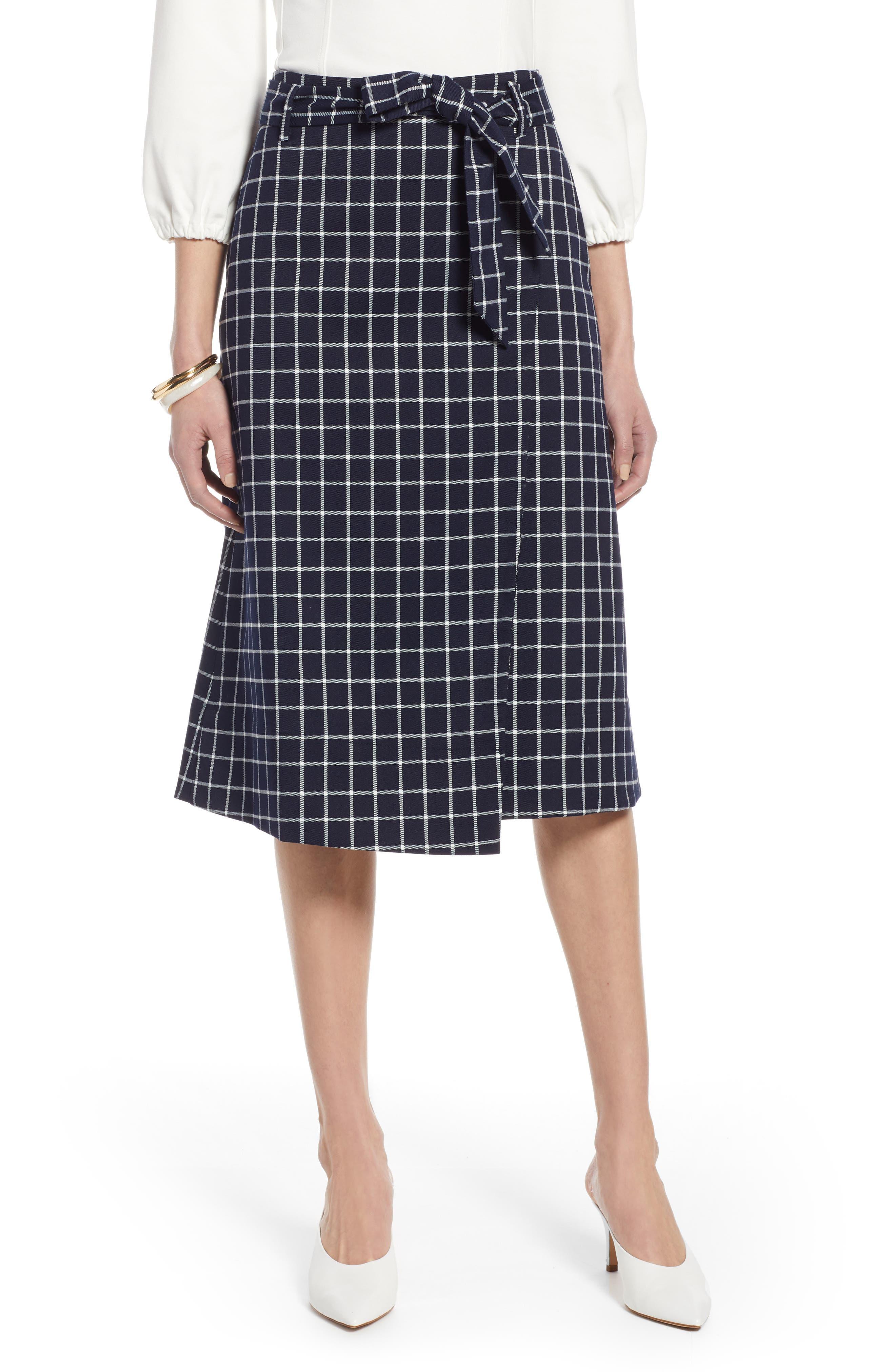 HALOGEN<SUP>®</SUP>, Tie Waist Check Skirt, Main thumbnail 1, color, NAVY CHECK