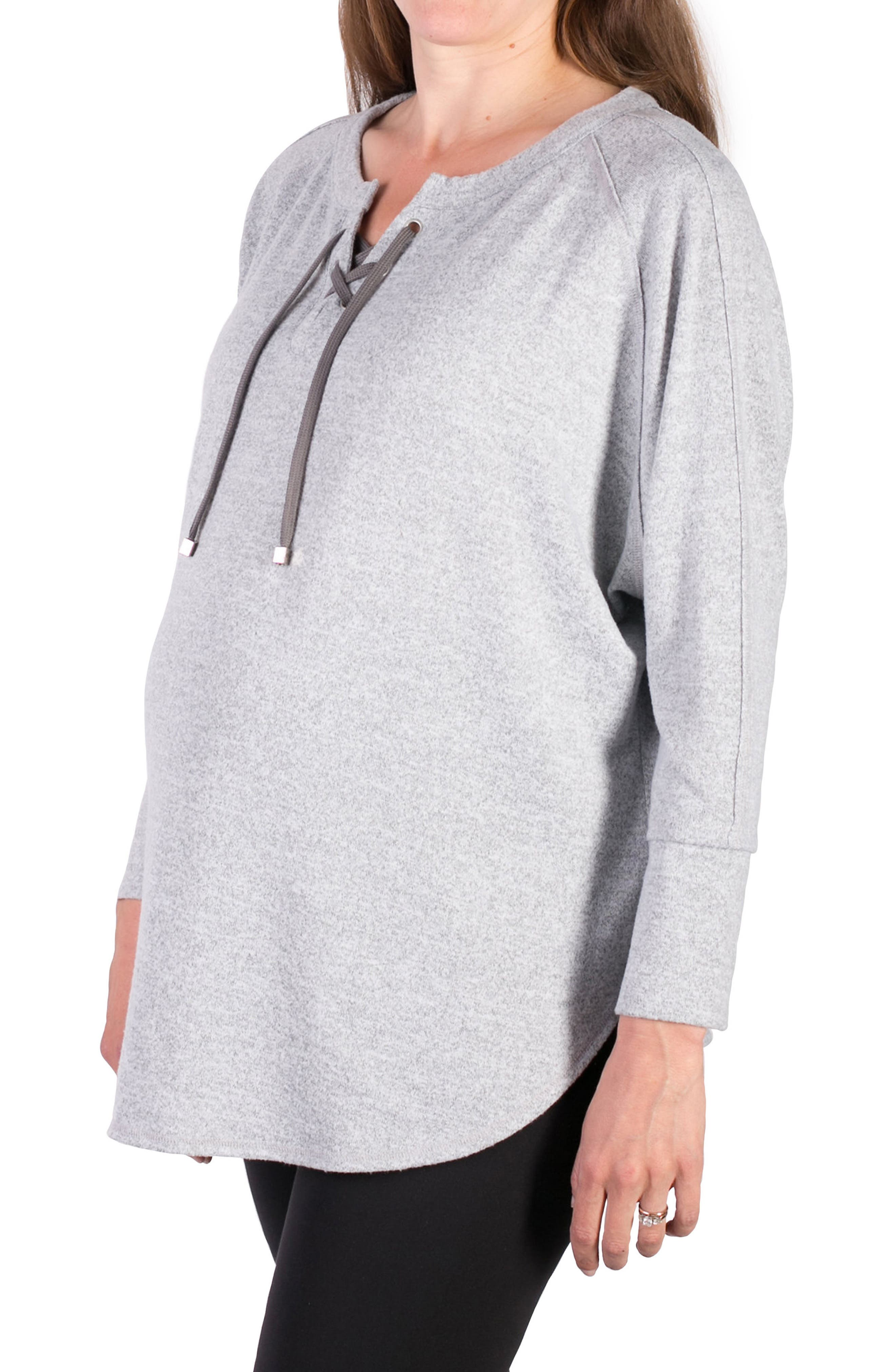 INGRID & ISABEL<SUP>®</SUP>, Cocoon Lace-Up Maternity Top, Alternate thumbnail 2, color, LIGHT HEATHER GREY