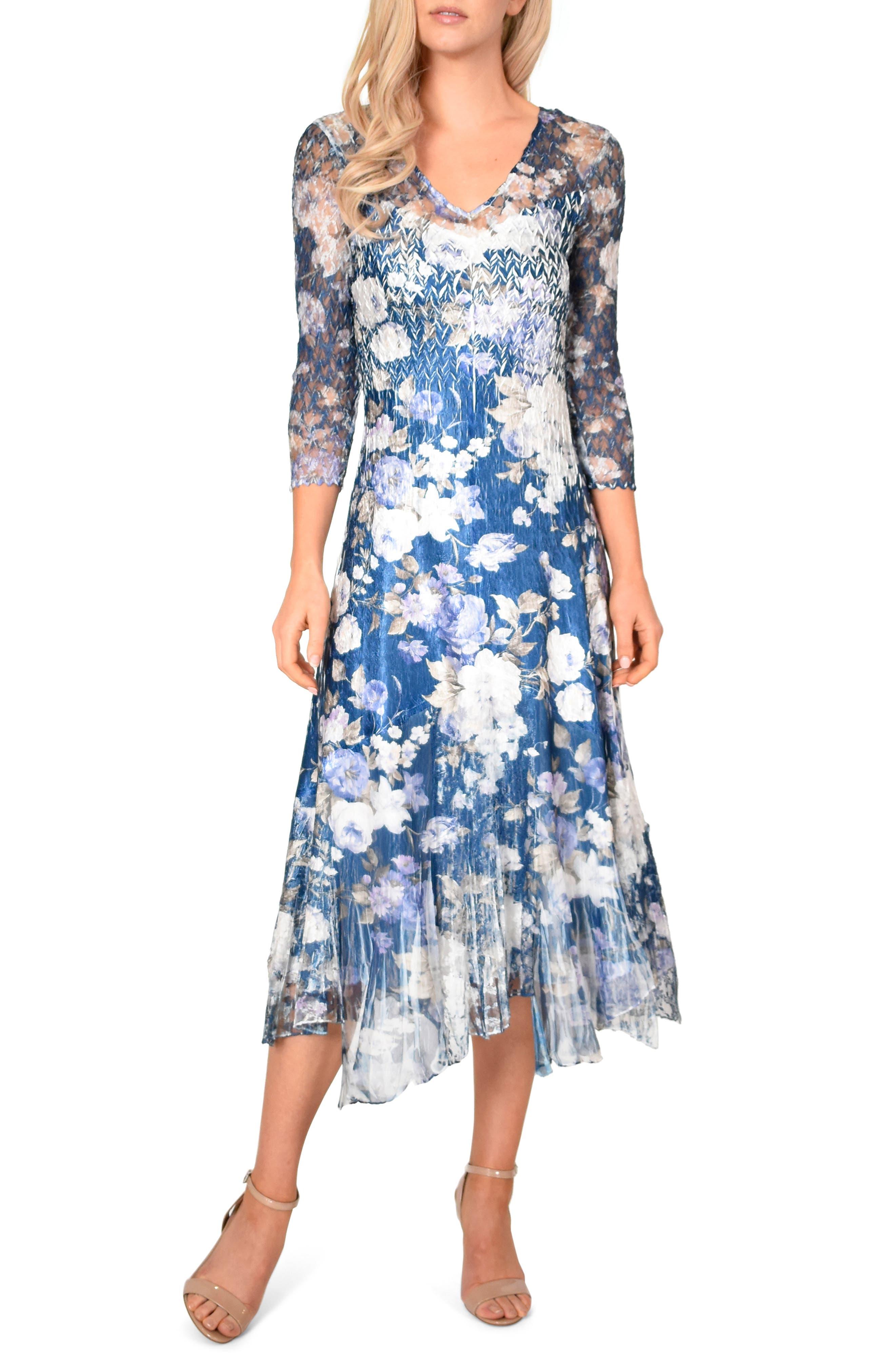 KOMAROV, Floral Charmeuse & Chiffon Dress, Main thumbnail 1, color, OLENADER NIGHT