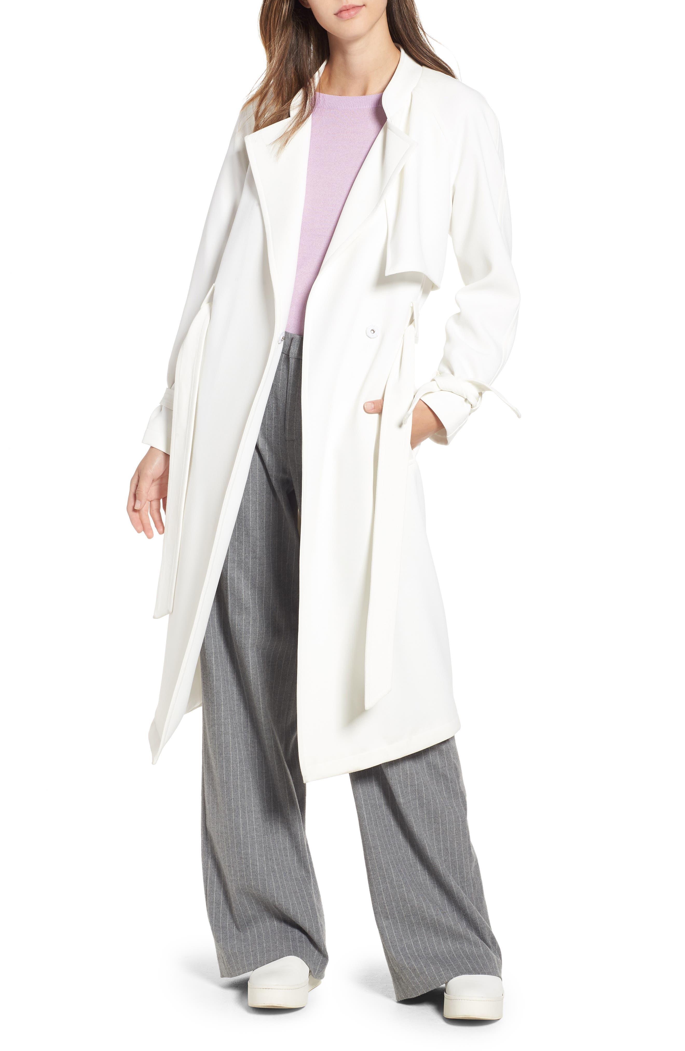 RACHEL RACHEL ROY, Luxe Crepe Trench Coat, Main thumbnail 1, color, WHITE
