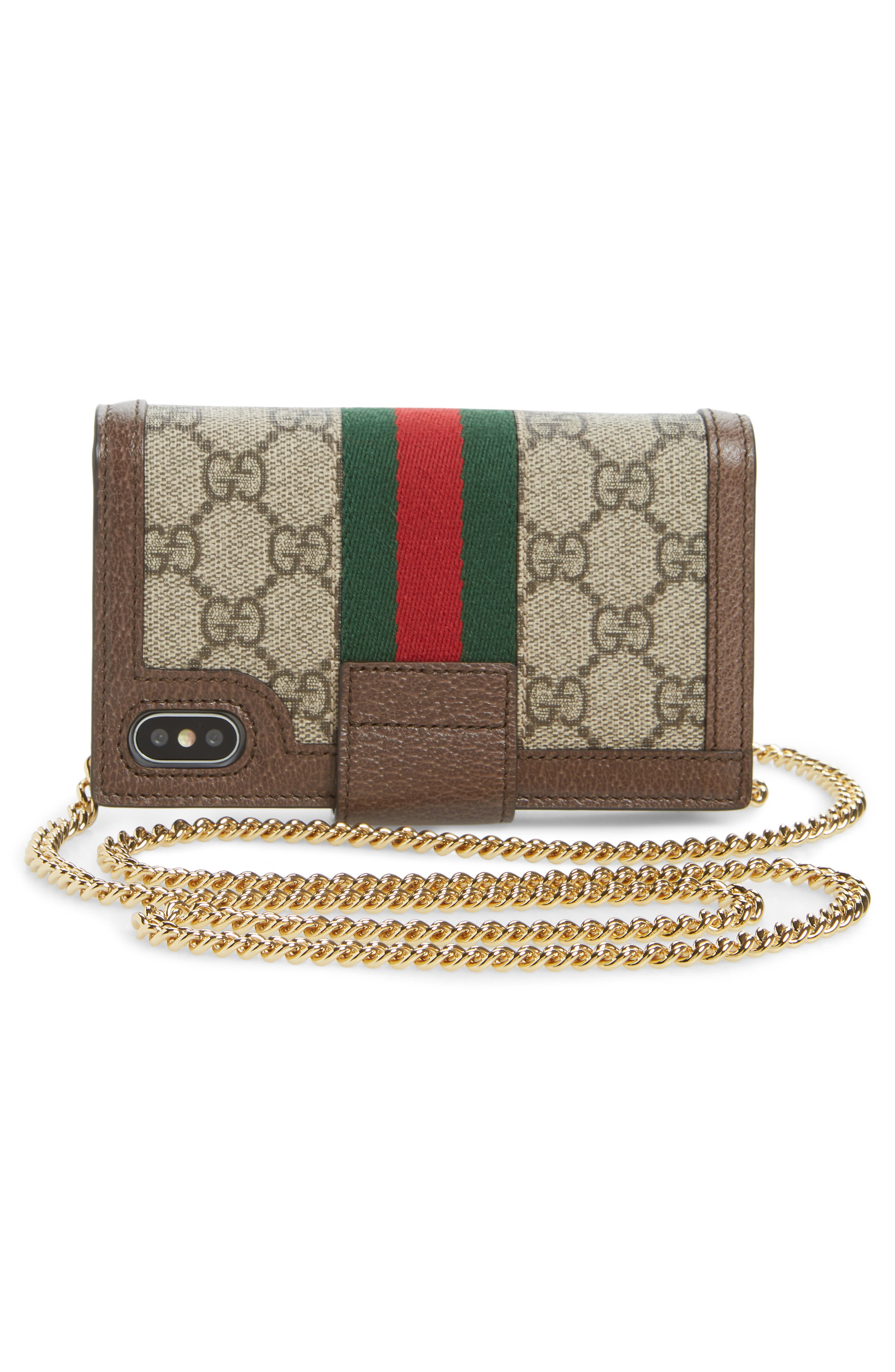 GUCCI, Ophidia iPhone X Folio Crossbody, Alternate thumbnail 3, color, BEIGE EBONY/ NEW ACERO