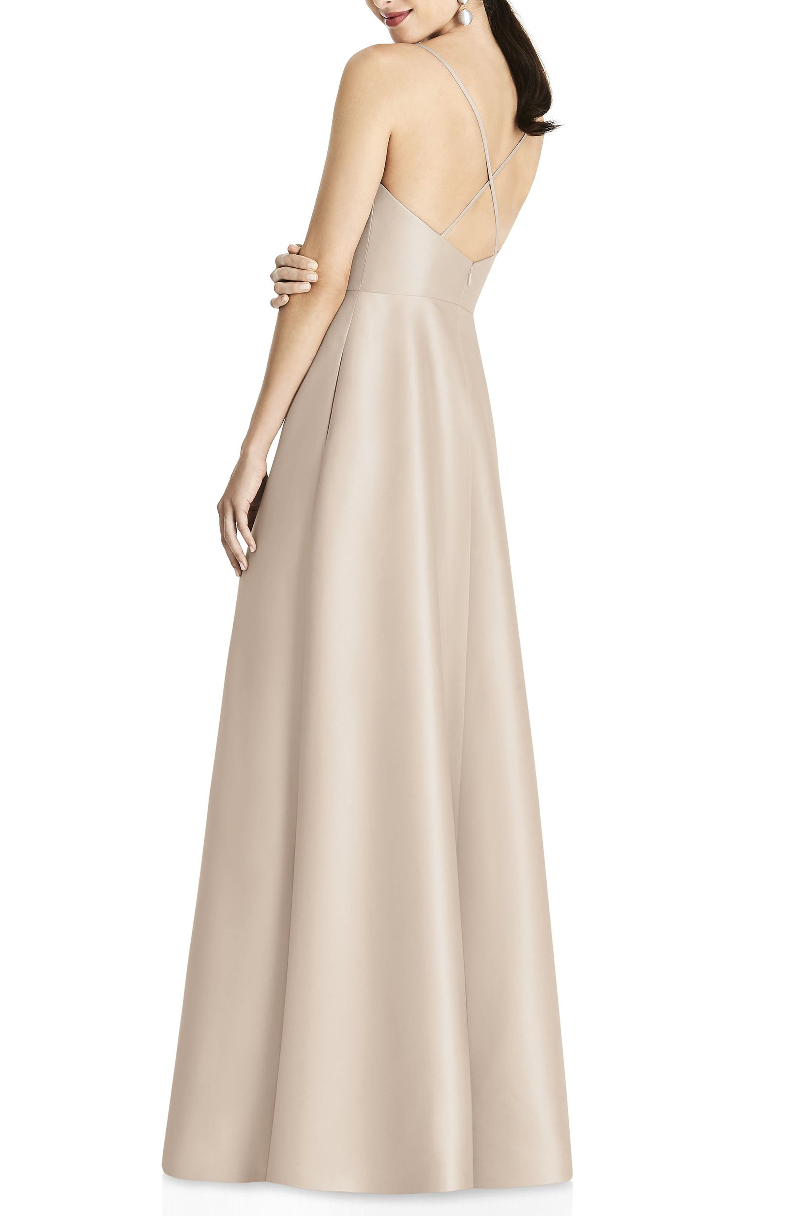 ALFRED SUNG, Strappy Sateen A-Line Gown, Alternate thumbnail 2, color, CAMEO