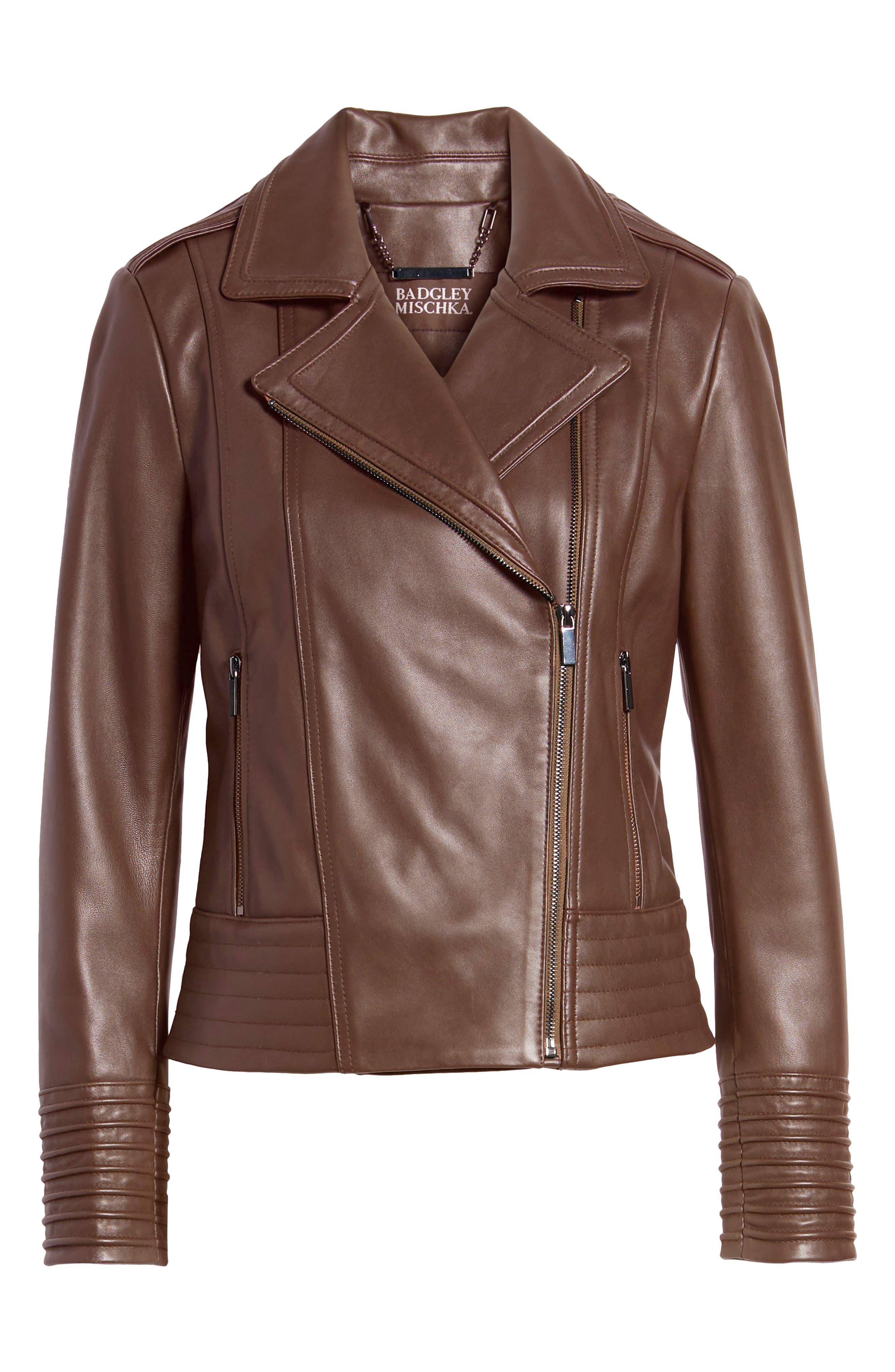 BADGLEY MISCHKA COLLECTION, Badgley Mischka Gia Leather Biker Jacket, Alternate thumbnail 6, color, 201