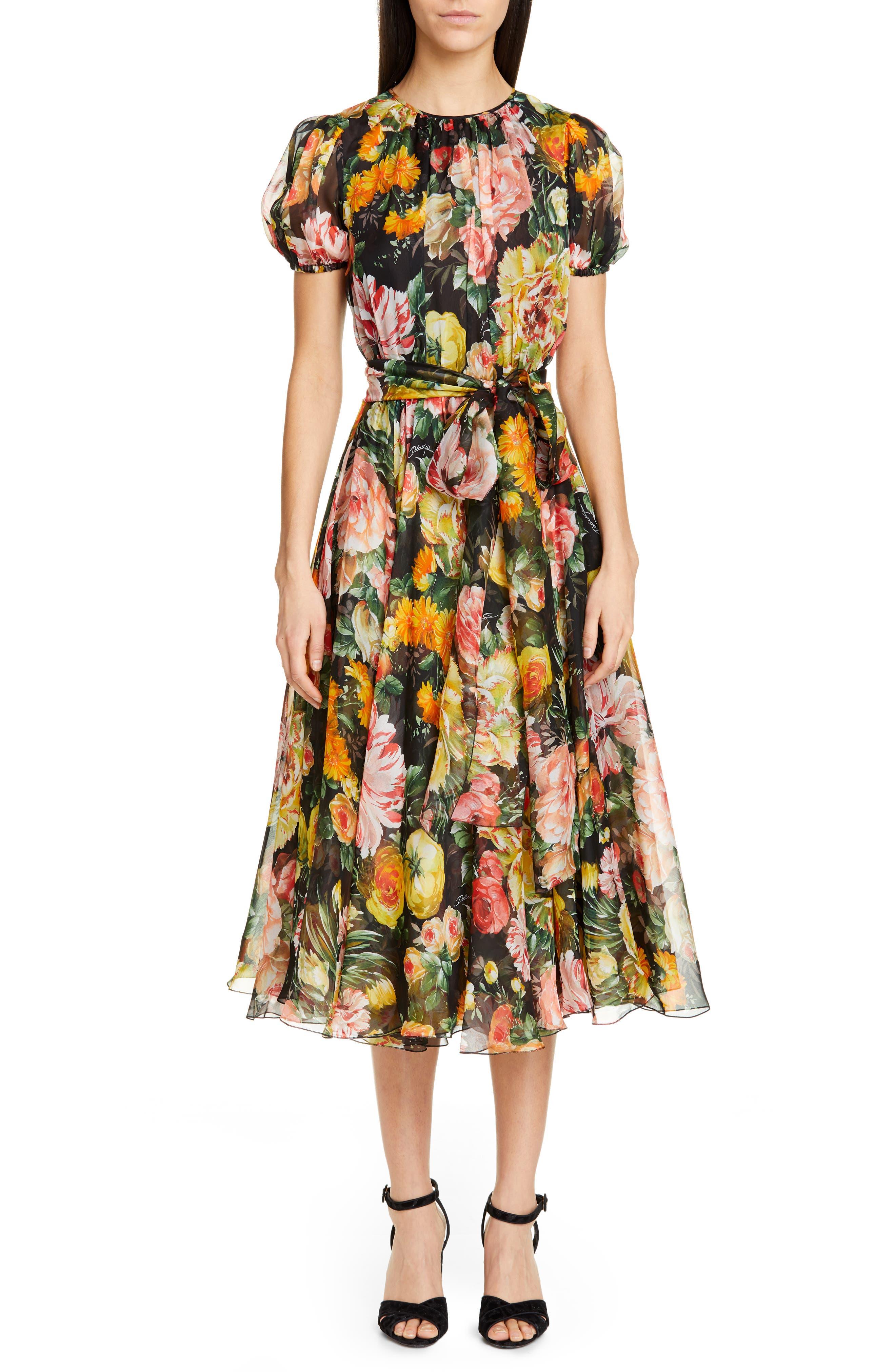 Dolce & gabbana Floral Print Pleated Silk Chiffon Dress