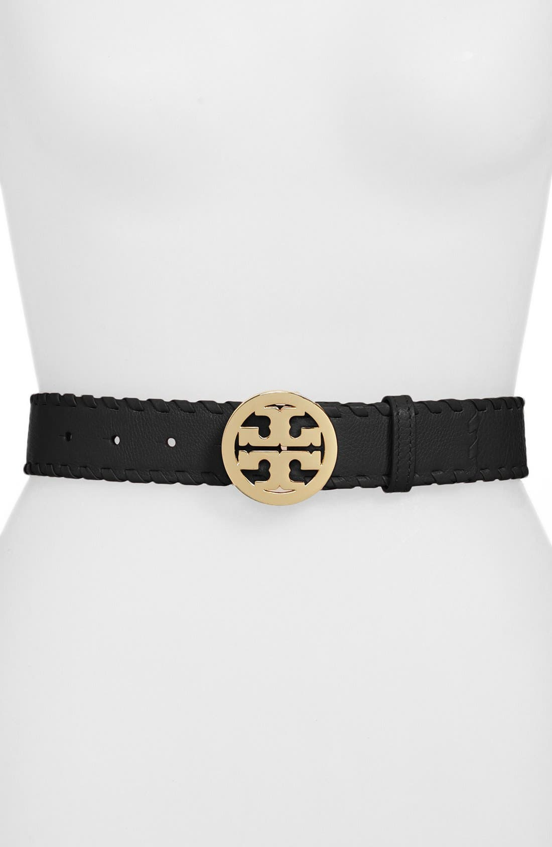 TORY BURCH, 'Marion' Whipstitch Logo Belt, Main thumbnail 1, color, 001