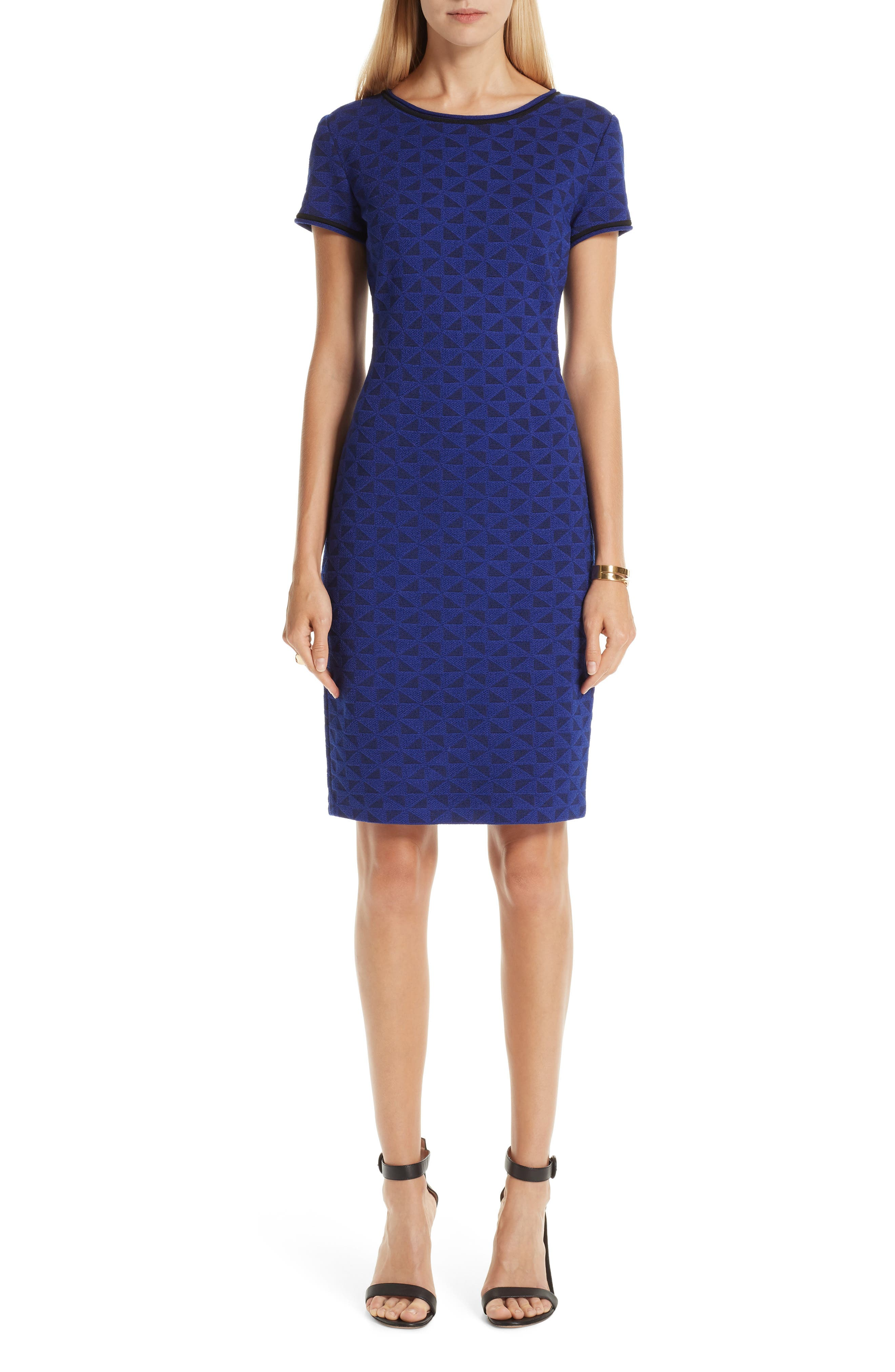 ST. JOHN COLLECTION, Micro Geo Blister Knit Sheath Dress, Main thumbnail 1, color, CAVIAR/ SAPPHIRE