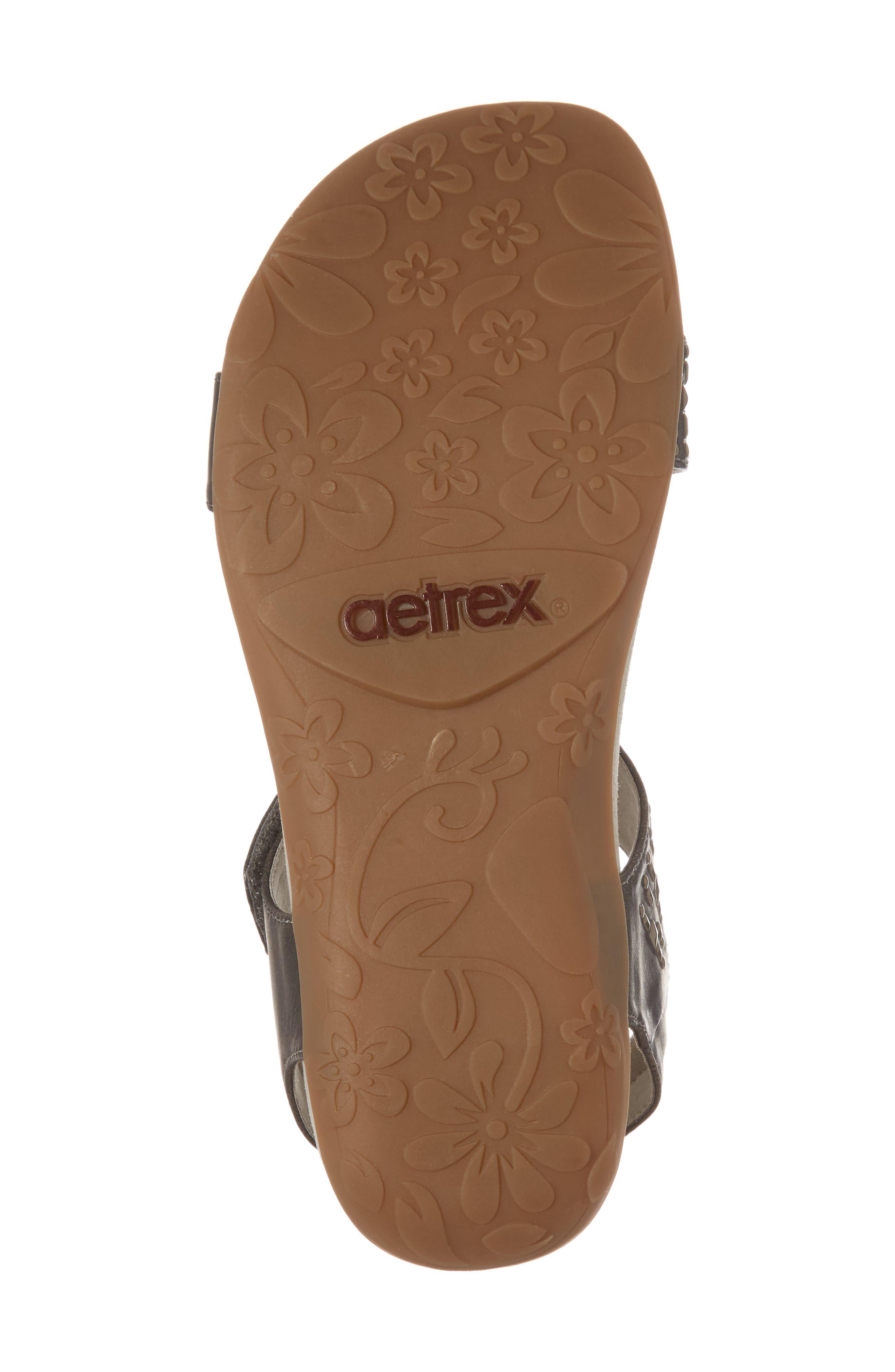 AETREX, 'Maria' Sandal, Alternate thumbnail 6, color, PEWTER LEATHER
