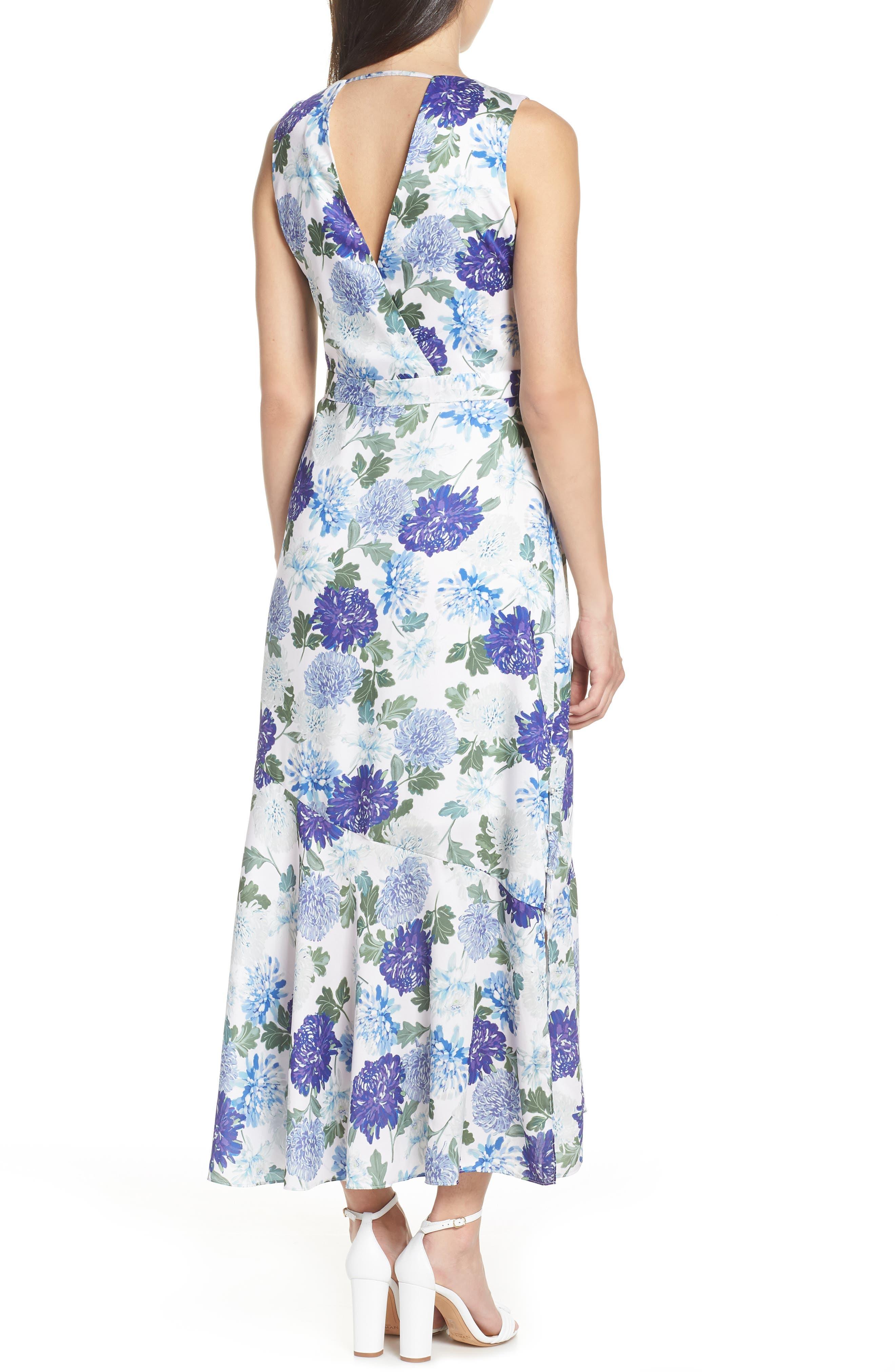 SAM EDELMAN, Vintage Floral Midi Dress, Alternate thumbnail 2, color, PURPLE MULTI