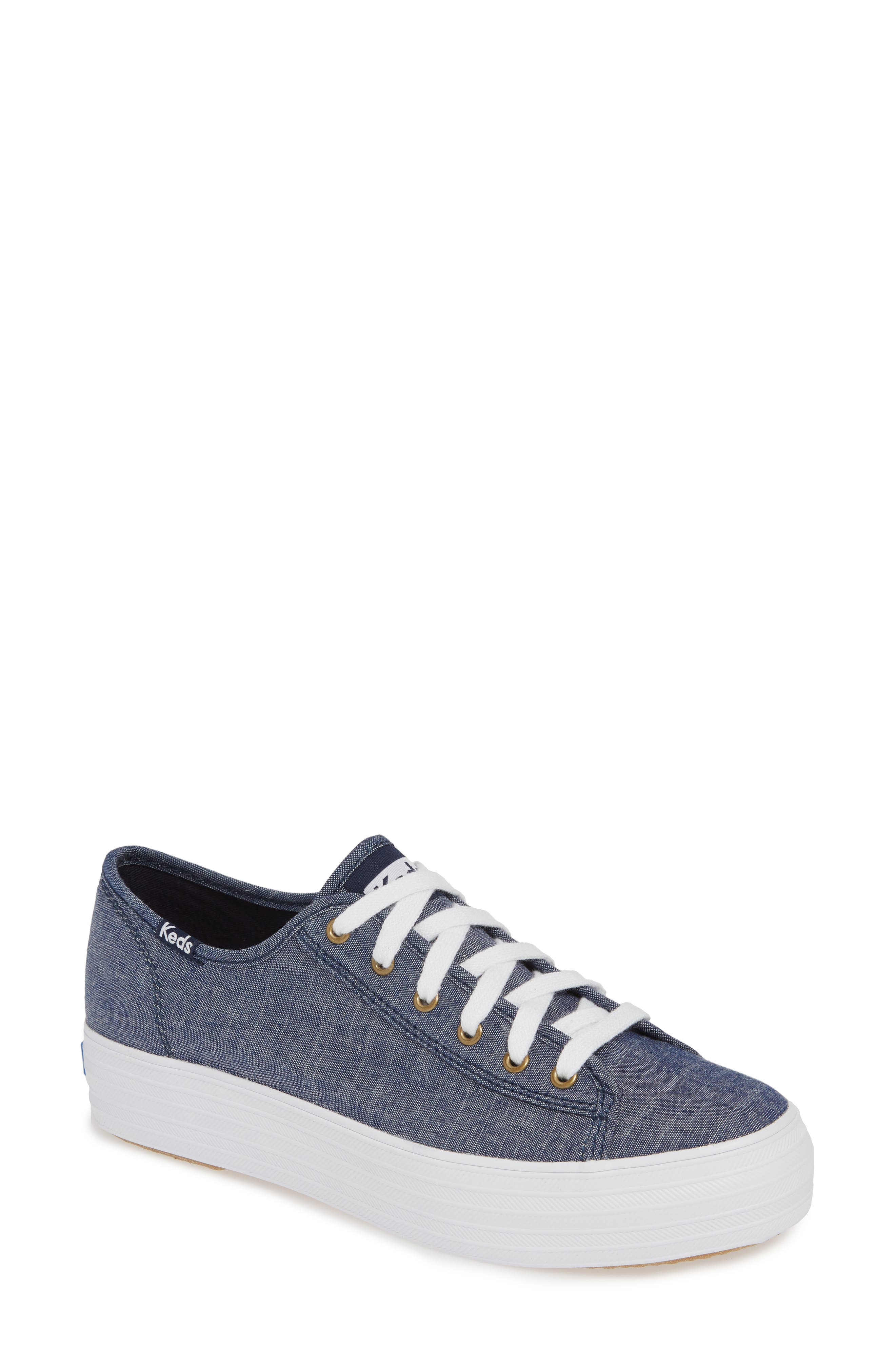 KEDS<SUP>®</SUP>, Triple Kick Platform Chambray Sneaker, Main thumbnail 1, color, BLUE