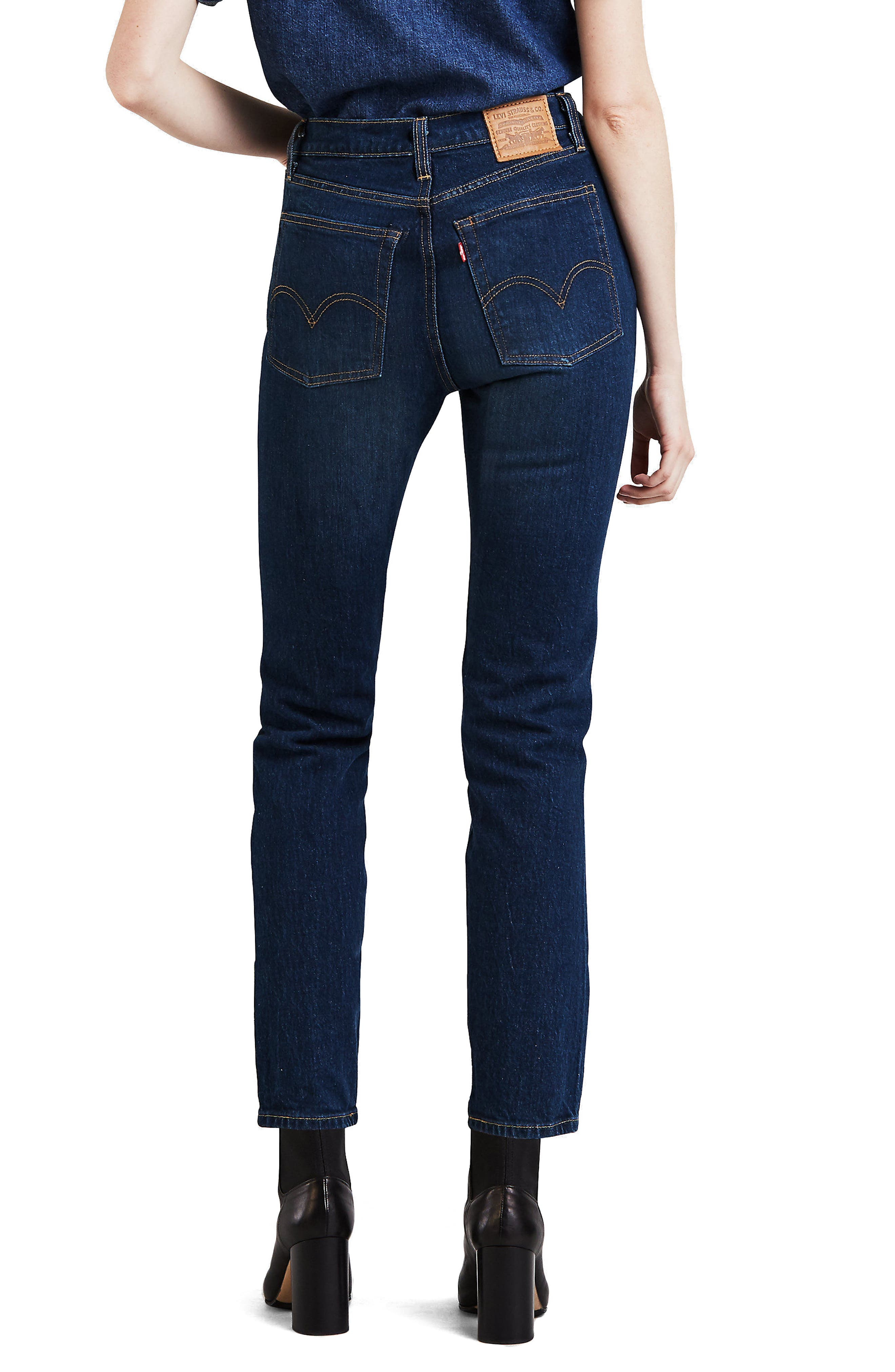 LEVI'S<SUP>®</SUP>, Wedgie Icon Fit High Waist Crop Jeans, Alternate thumbnail 2, color, AUTHENTIC FAVORITE
