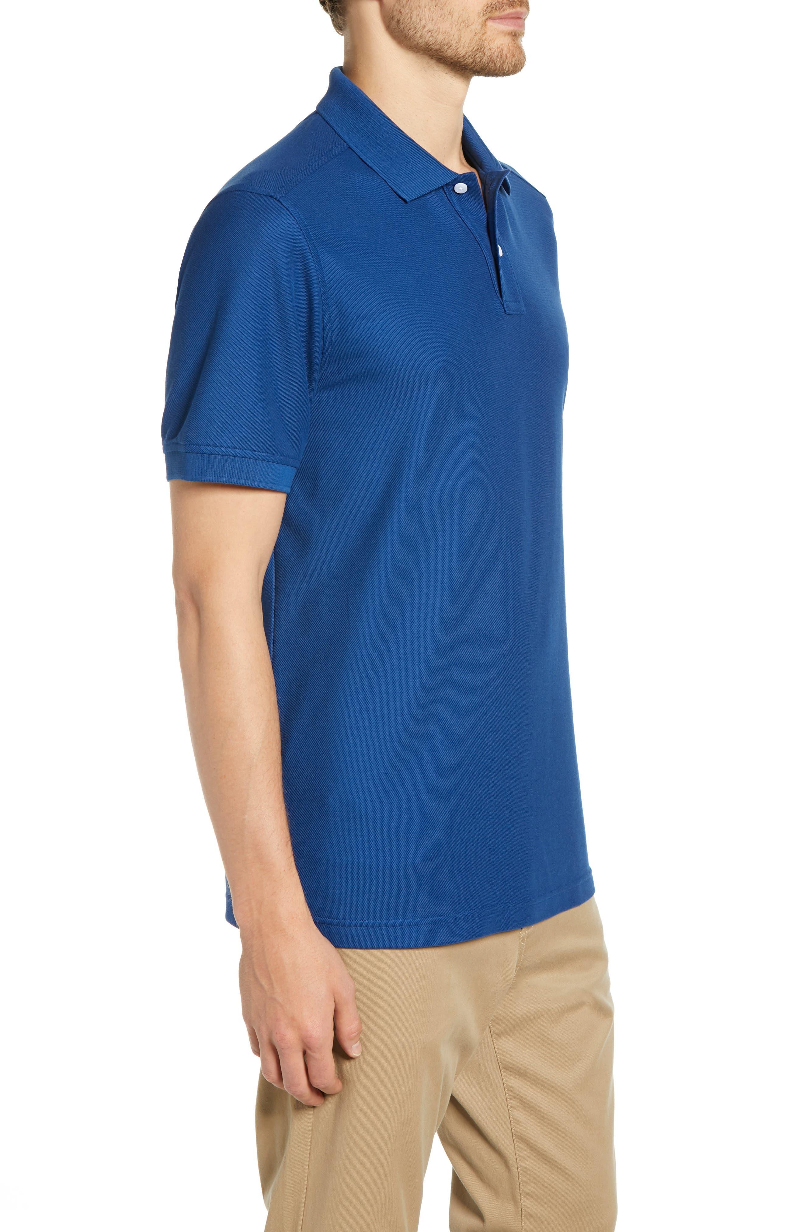 NORDSTROM MEN'S SHOP, Regular Fit Piqué Polo, Alternate thumbnail 3, color, BLUE CASPIA