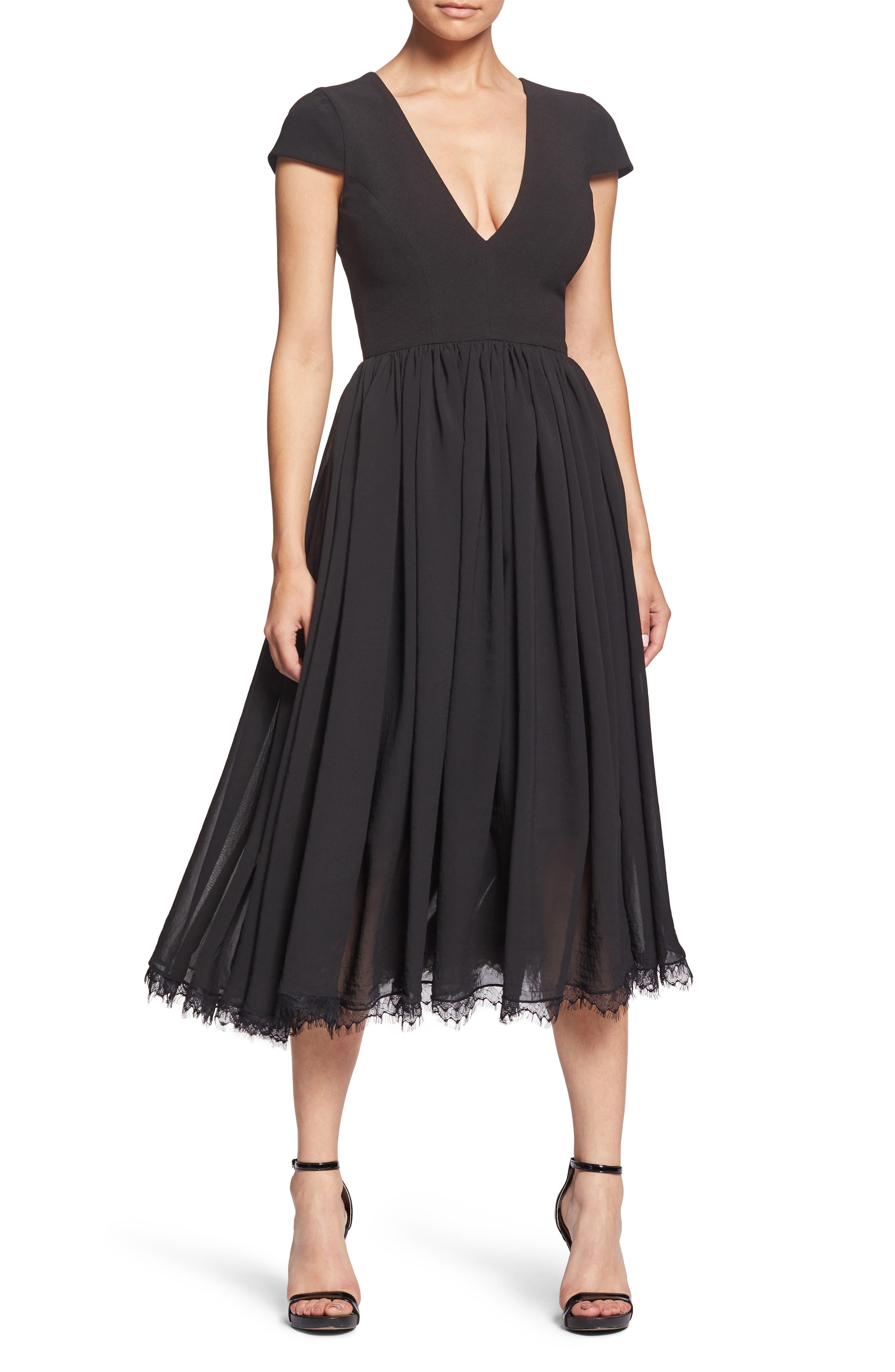DRESS THE POPULATION, Corey Chiffon Fit & Flare Dress, Alternate thumbnail 6, color, BLACK