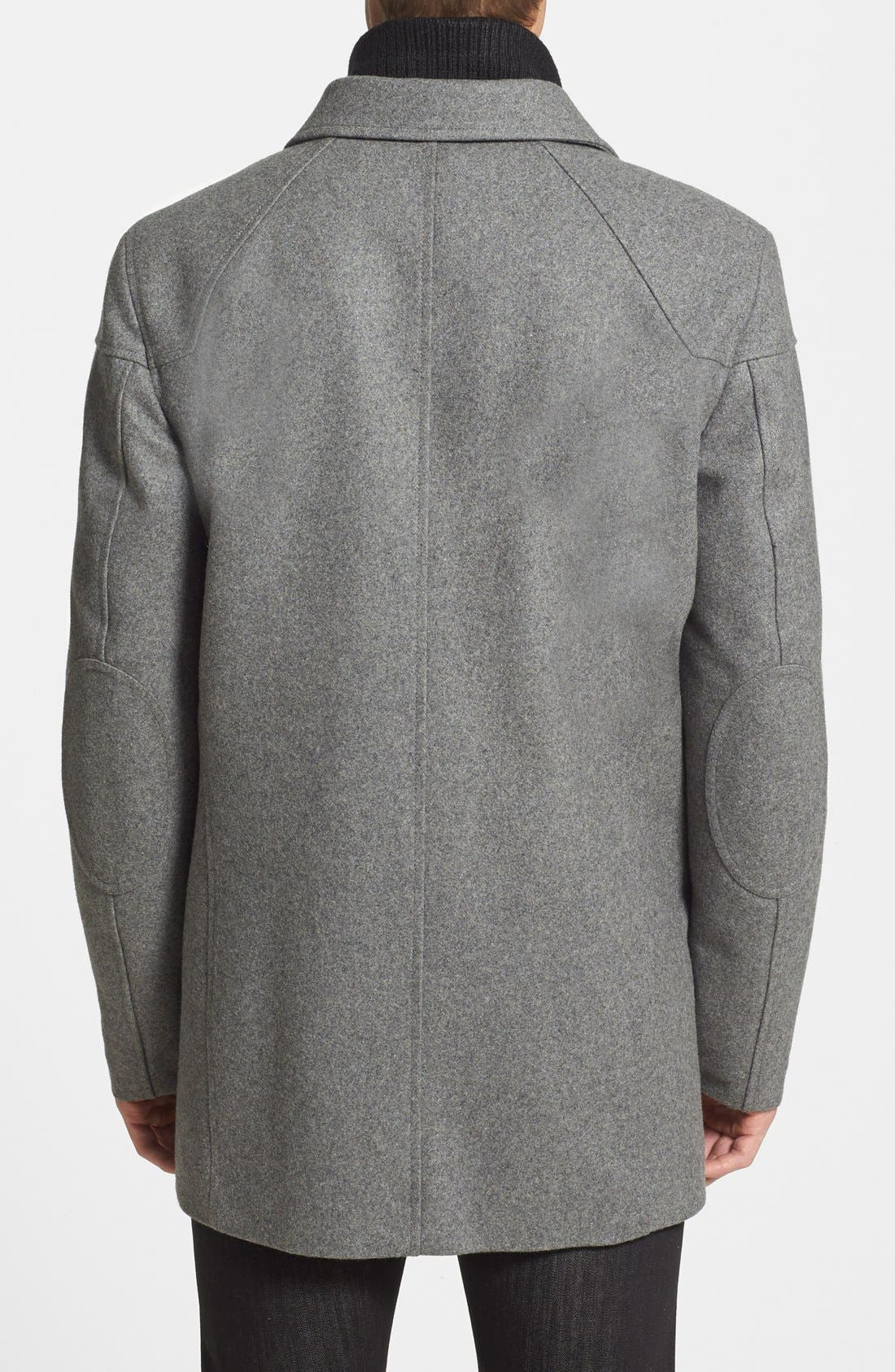 VINCE CAMUTO, Melton Car Coat with Removable Bib, Alternate thumbnail 2, color, HEATHER GREY