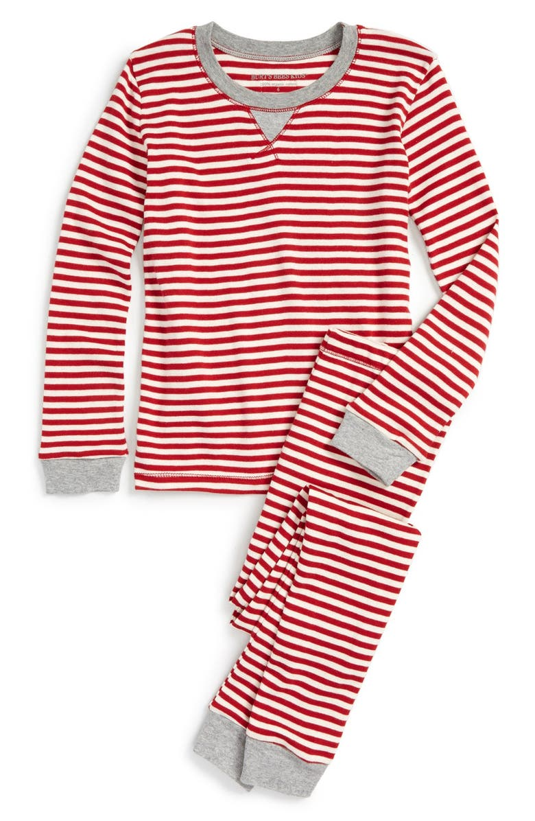 c338e295abb BURT S BEES BABY  Candy Cane Stripe  Fitted Two-Piece Organic Cotton Pajamas