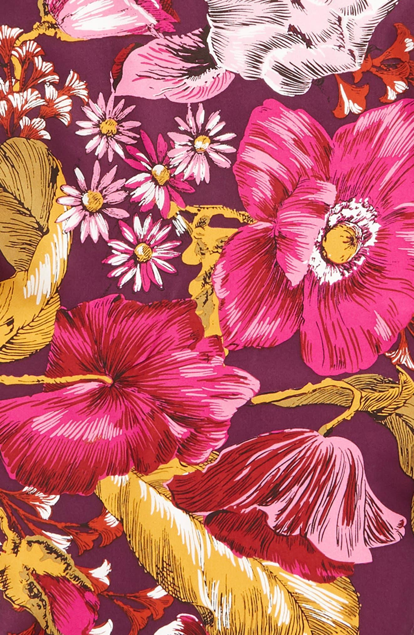 ECHO, Mumbai Floral Silk Diamond Scarf, Alternate thumbnail 4, color, 510